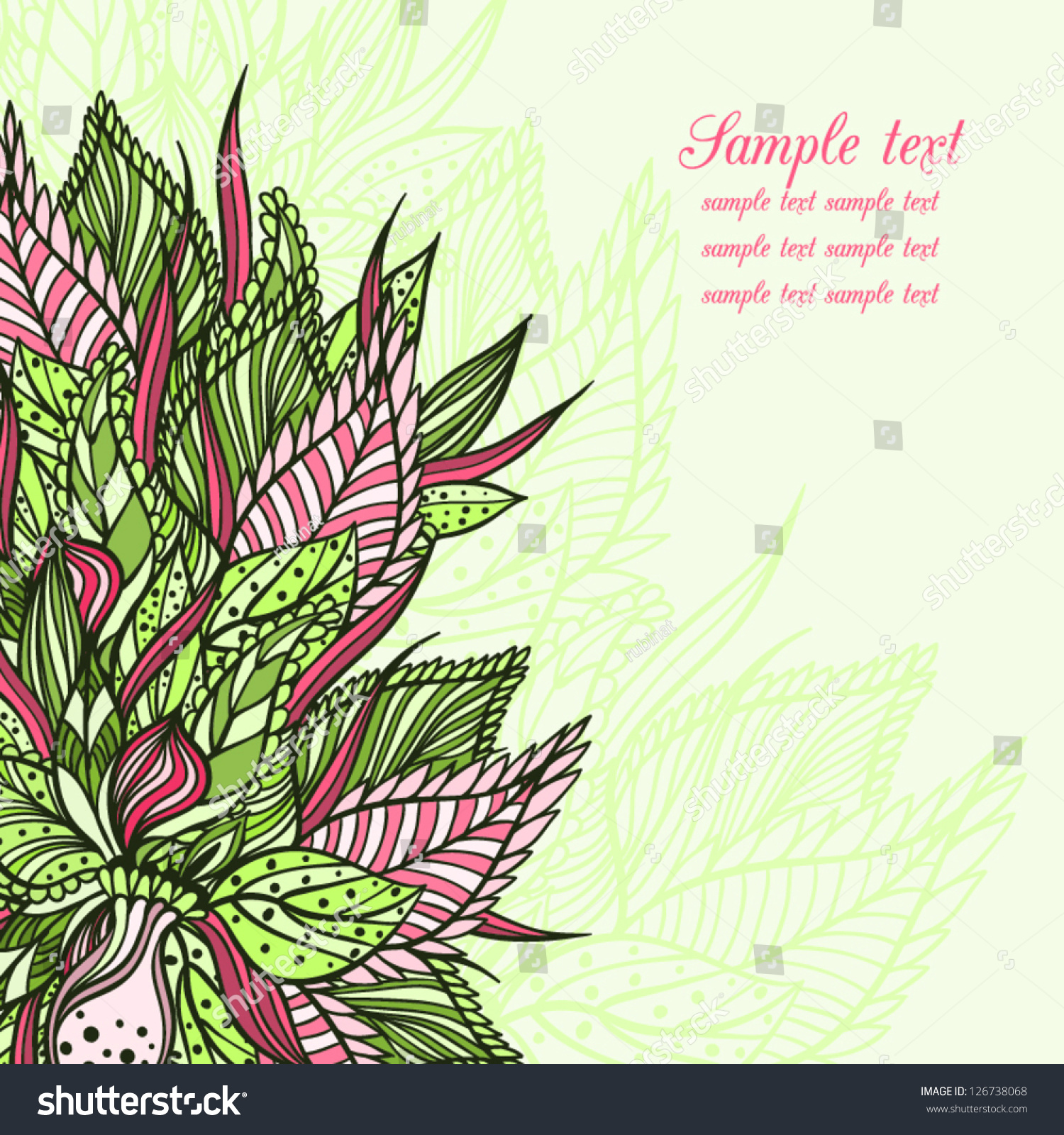 vector floral card bouquet made leaves stock vector 126738068