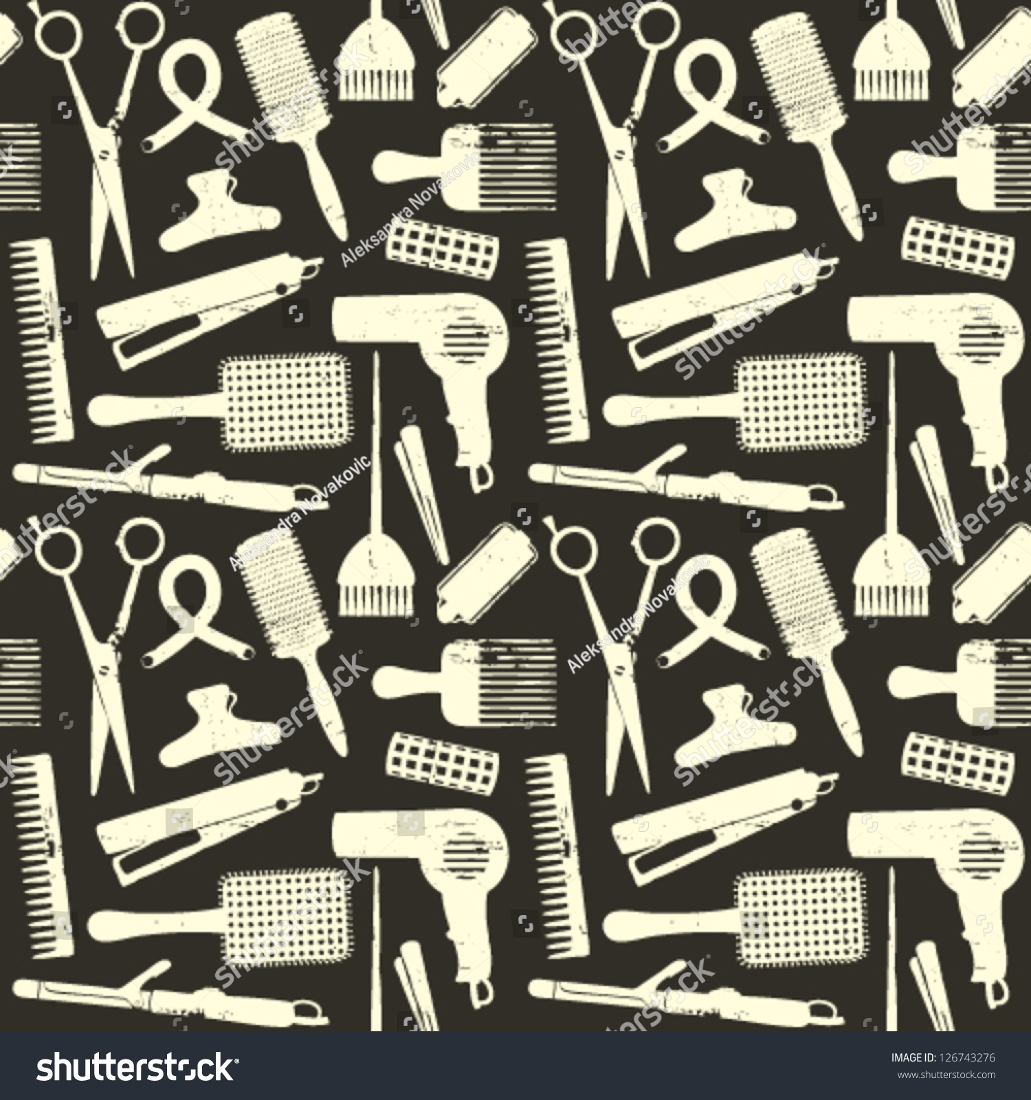 Scratched Hair Styling Related Seamless Pattern On Black ...
