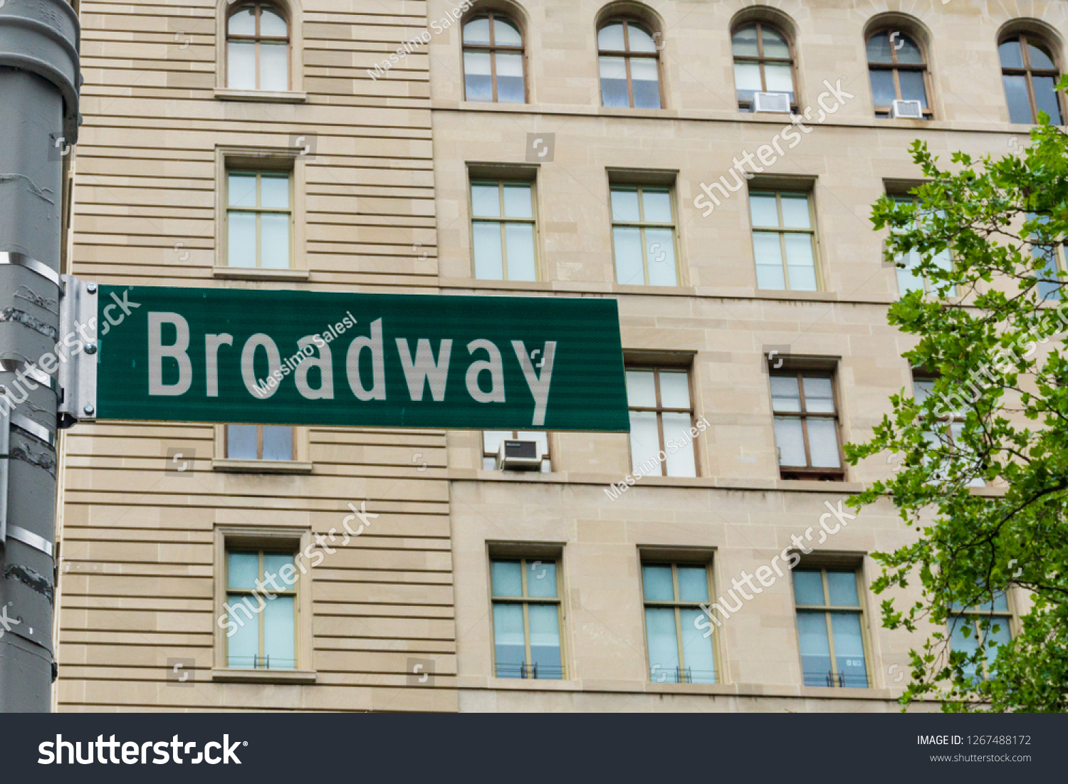 New York, USA - August 20, 2018: Broadway street sign in Manhattan, New York City. #1267488172
