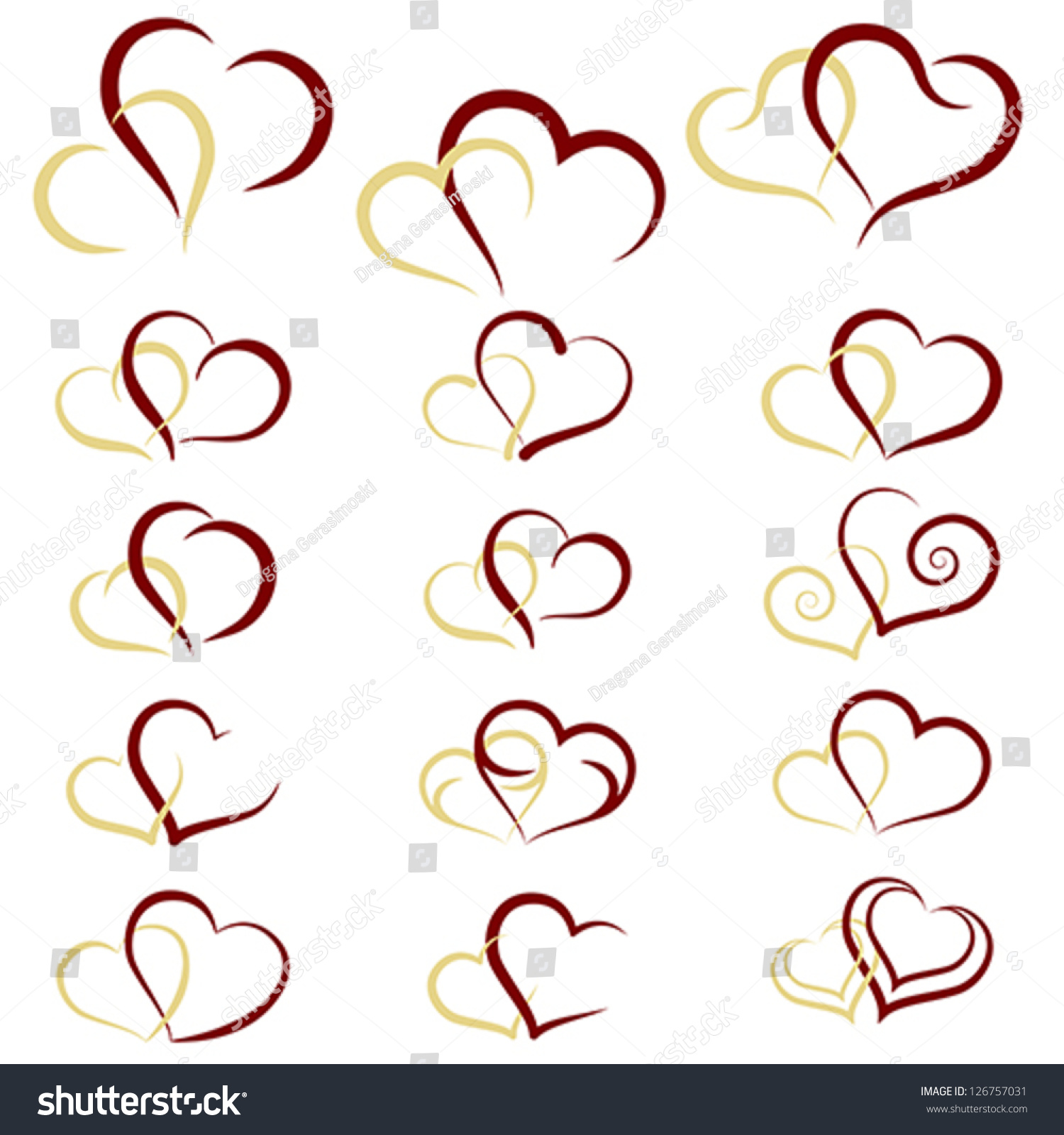 Double Heart Collection Icon Couple Love Stock Vector Royalty Free