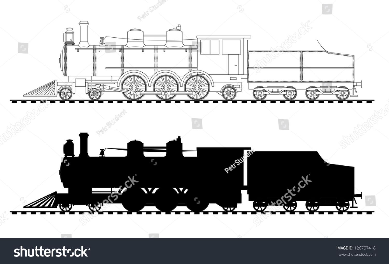 A Side Illustration Of Steam Locomotive - 126757418 ...