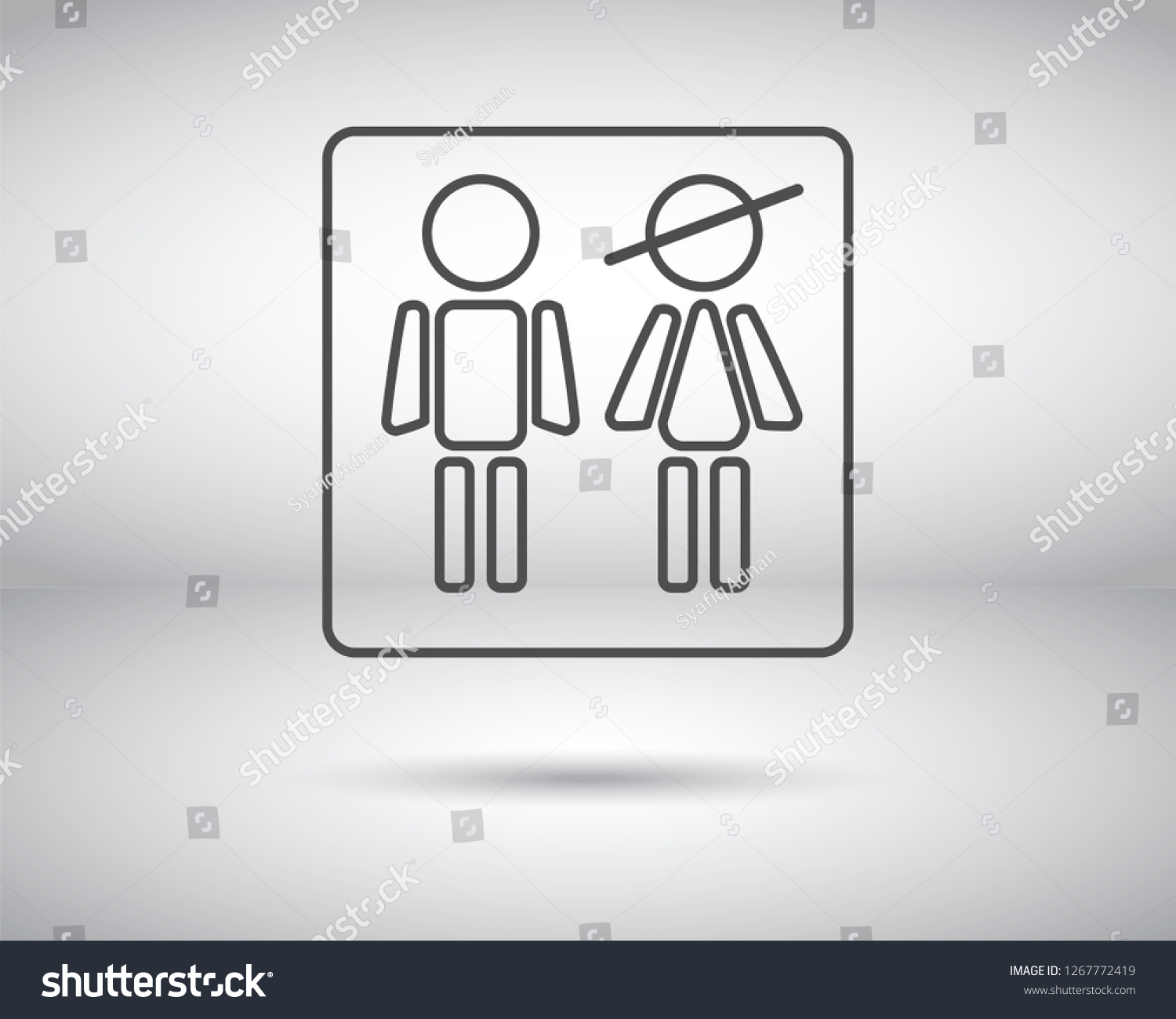 Lady & Gents (Men & Women) toilet sign vector icon. WC simple isolated symbol. Restroom symbol. Bathroom symbol. - Vector  #1267772419