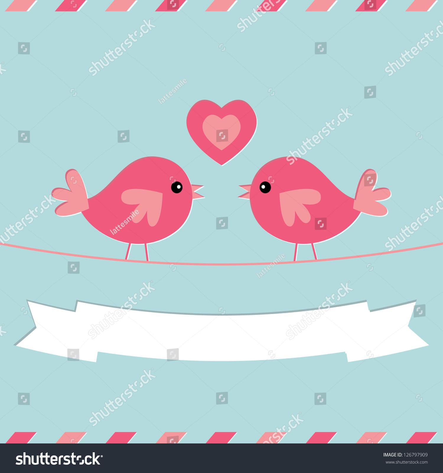 Love Birds Valentines Day Vector Card Vector 126797909 – Bird Valentine Card