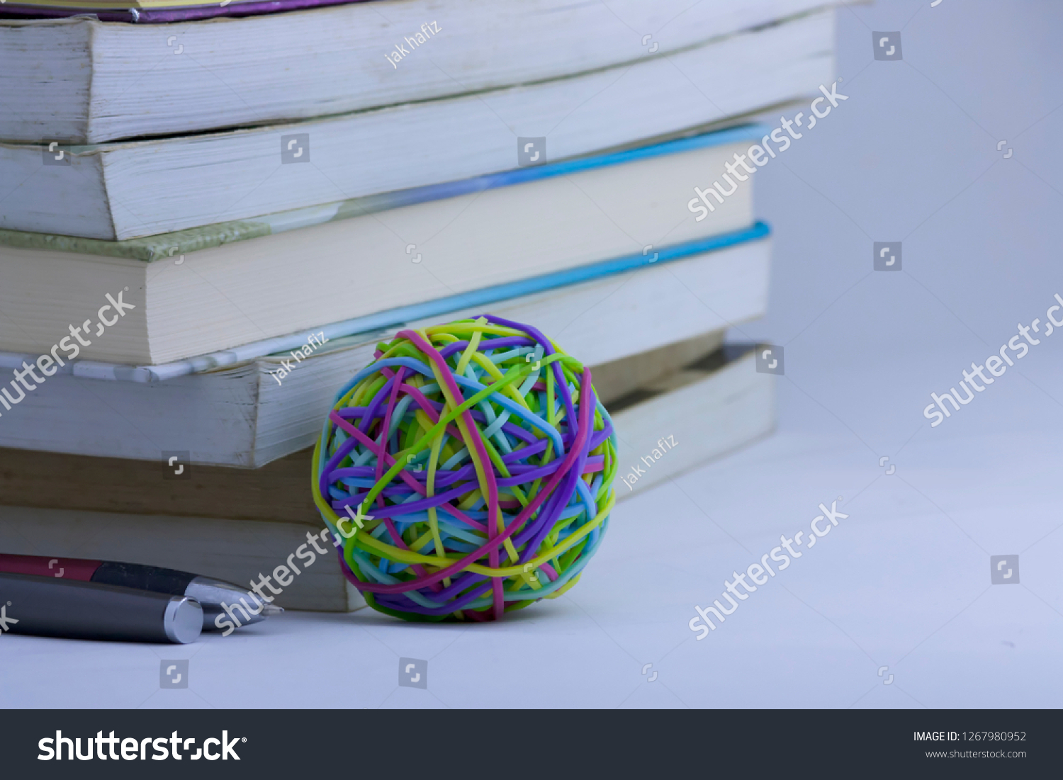 Books Pen Colorful Rubber Band On Stock Photo (Edit Now