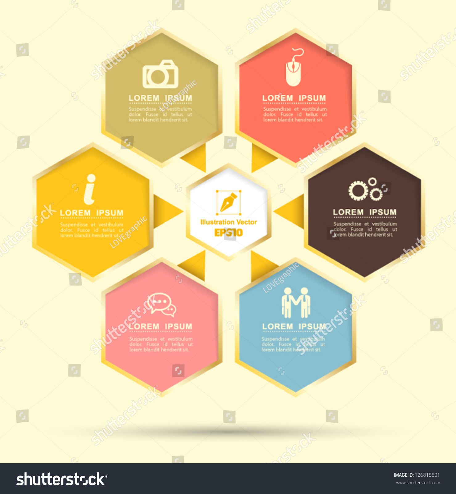 Hexagon Group Business Plan Use Education Stock Vector 126815501 Shutterstock