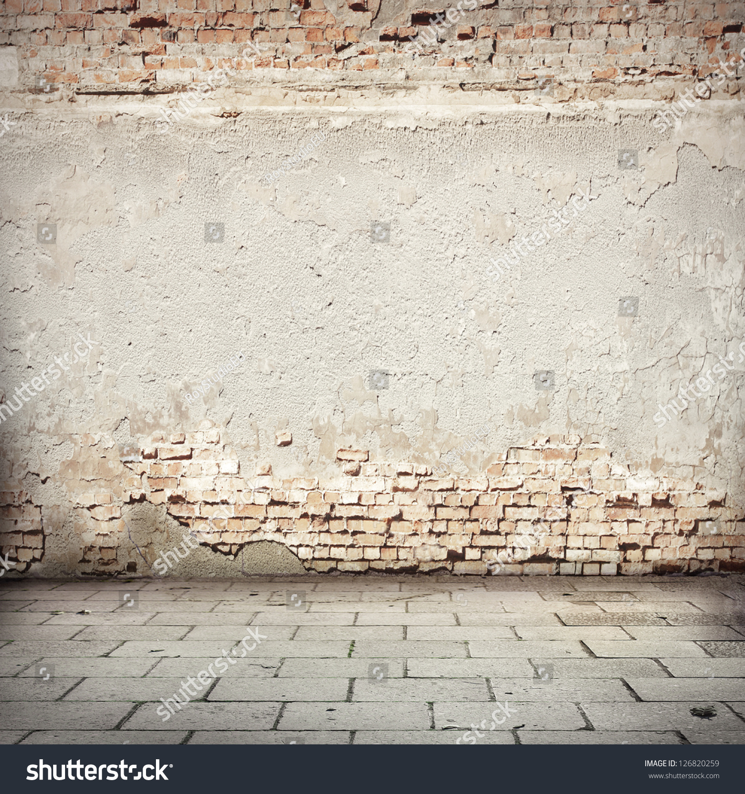 Grunge Background Red Brick Wall Texture Stock