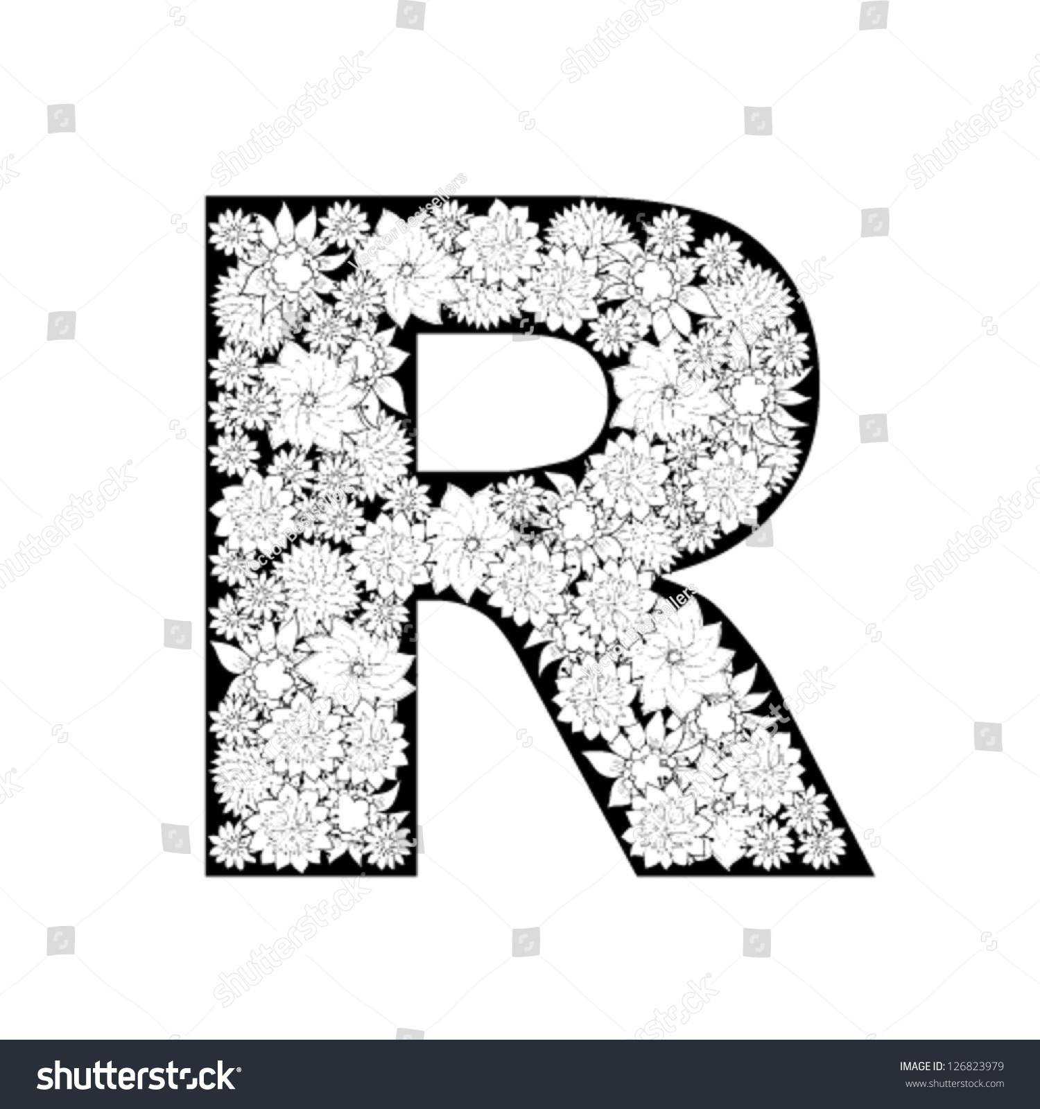 Hand Drawn Floral Alphabet Design Letter Stock Vector