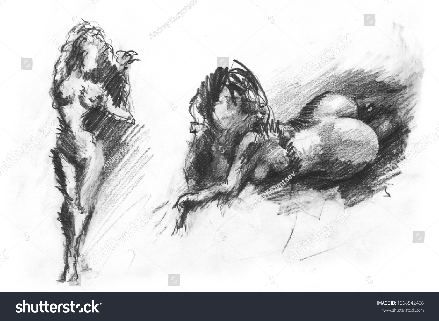 Lying naked woman pencil sketch stock illustration 1268542456
