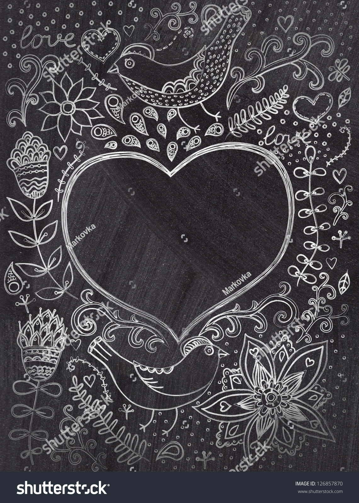 Vintage Chalk Background Floral Ornament Heart Stock