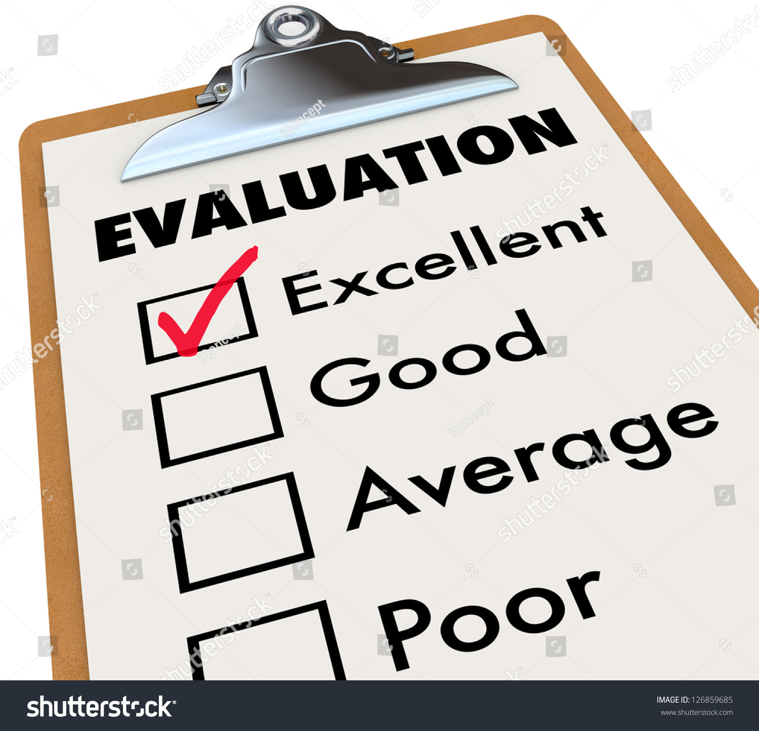 Evaluation Report Card On Easel Checkmark Illustration – Evaluation Report