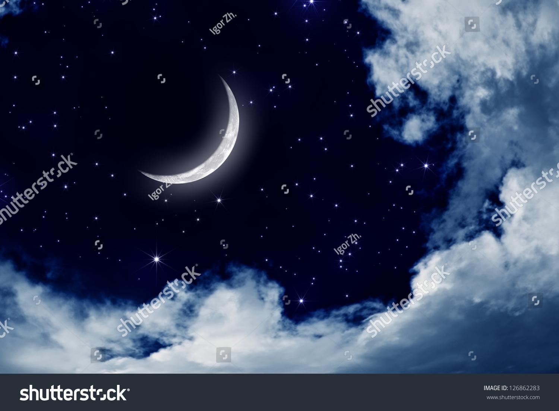 Night Moon Romance Love Stars Sky Clouds Wallpaper: Peaceful Background Night Sky Moon Stars Stock