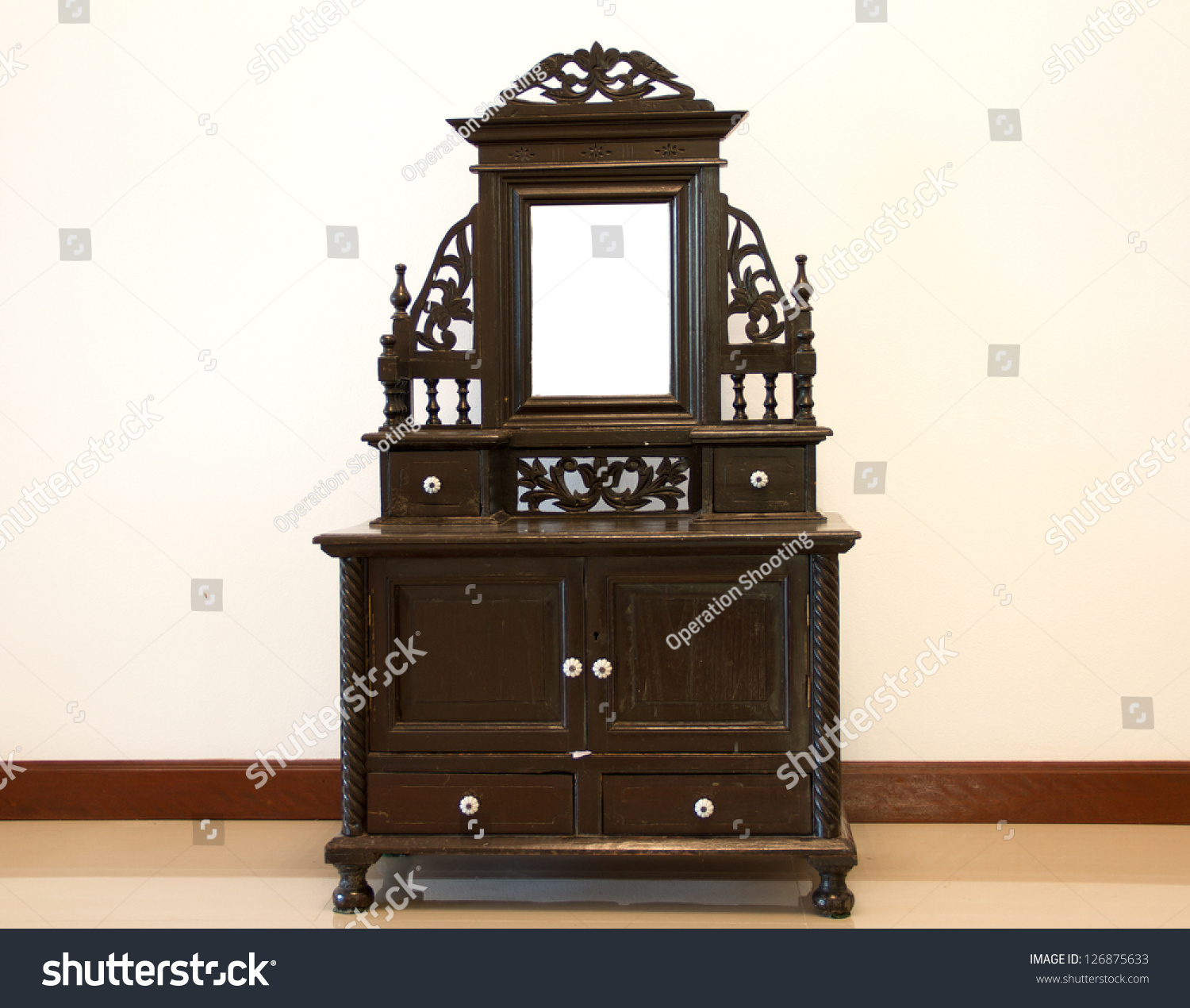 Antique dressing table with mirror - Black Antique Dressing Table With Mirror