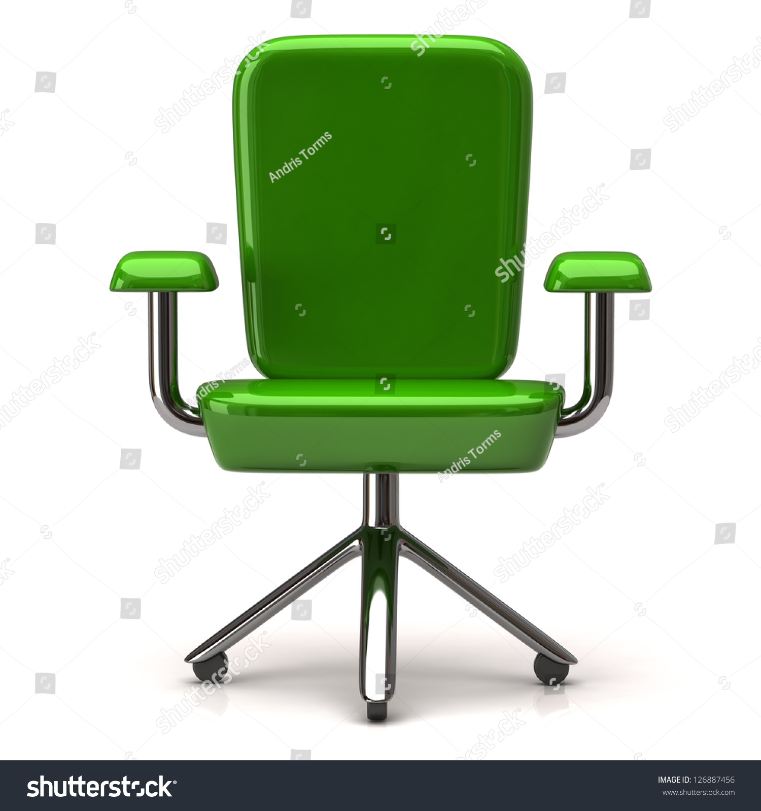 Green Stylized fice Chair 3d Stock Illustration