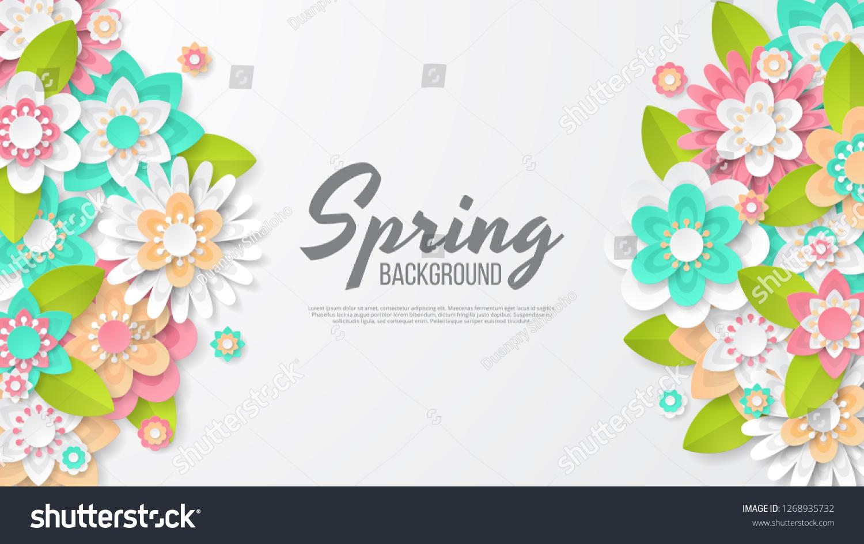 春の背景に美しいカラフルな花 テンプレート バナー 壁紙 チラシ