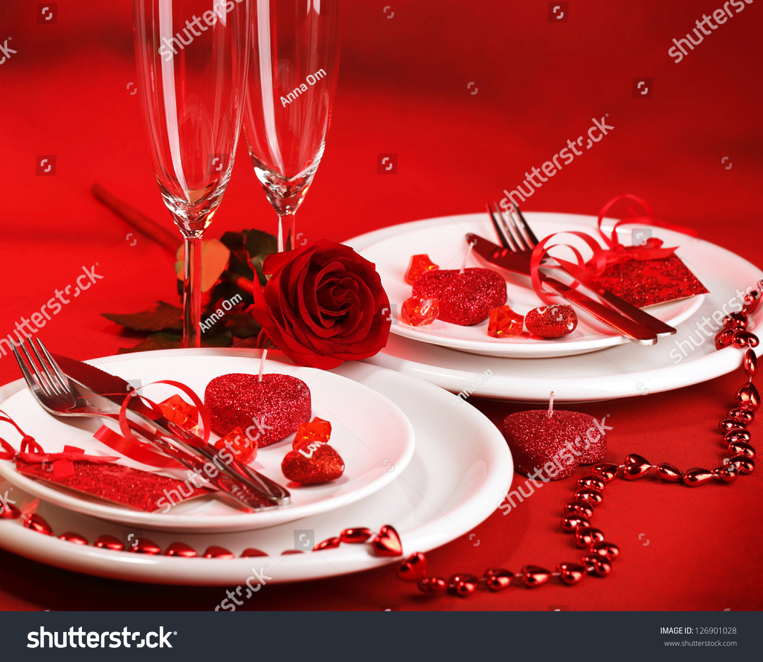 Photo Romantic Dinner Table Setting Holiday Stock Photo