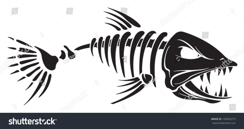Скелет рыбы тату эскиз