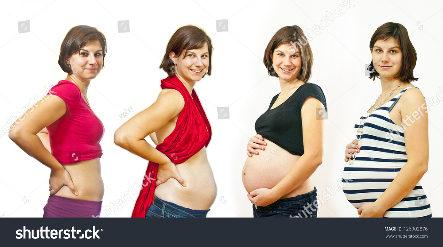 Pictures of a four months pregnant woman