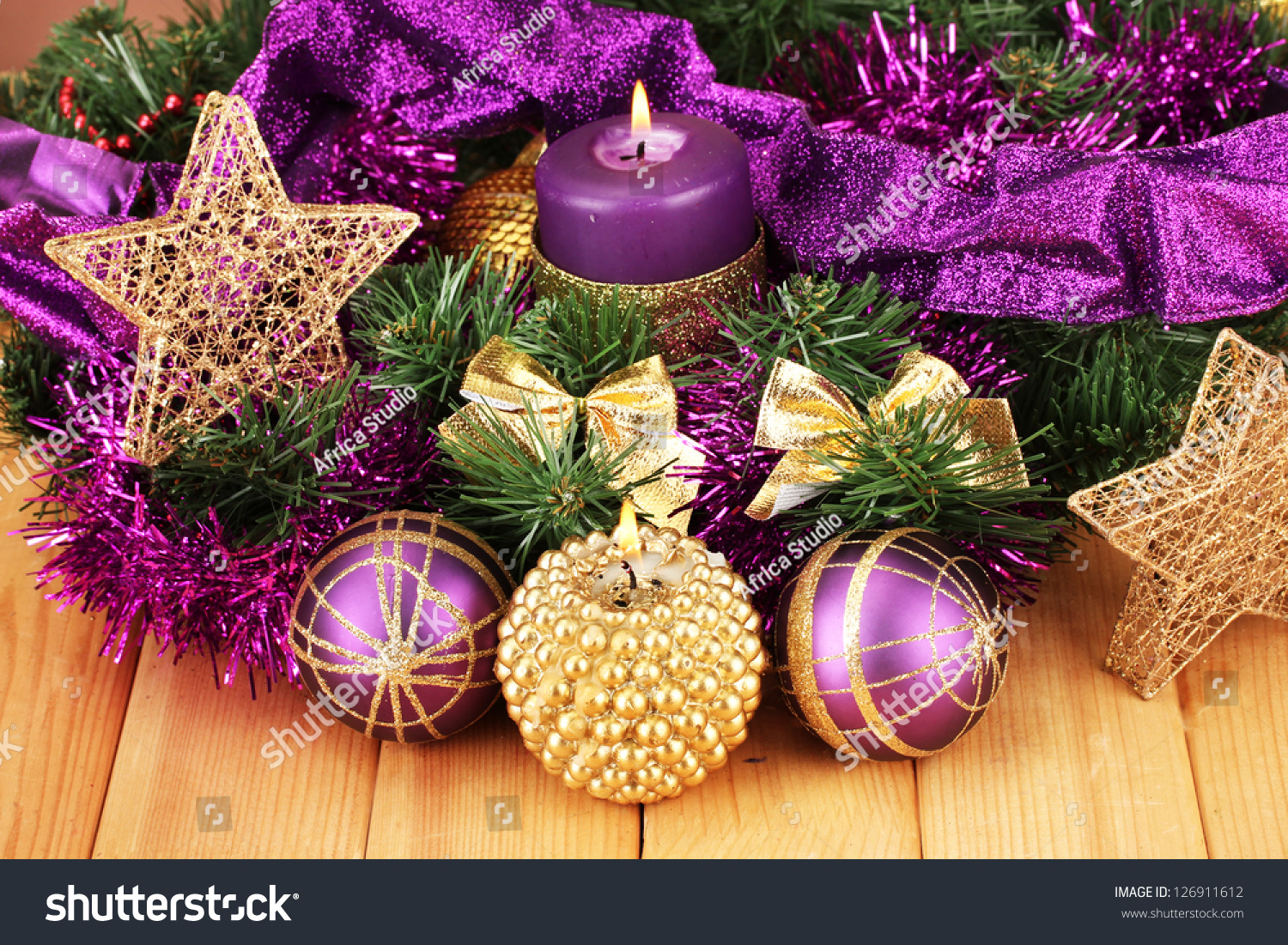 Christmas Composition Candles Decorations Purple Gold