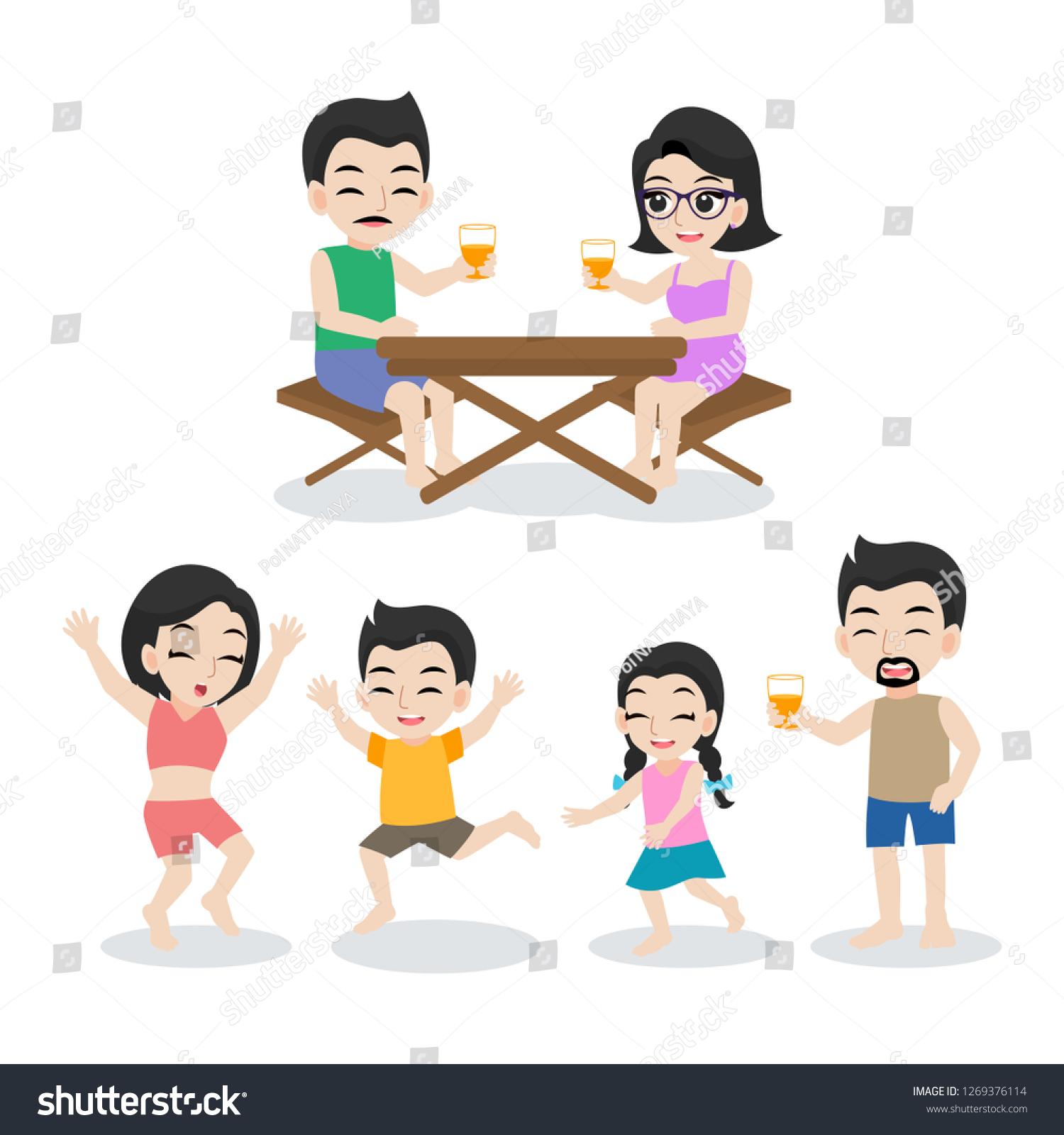 Set Happy Familycartoon Character Flat Design Stock Vector Royalty Free 1269376114