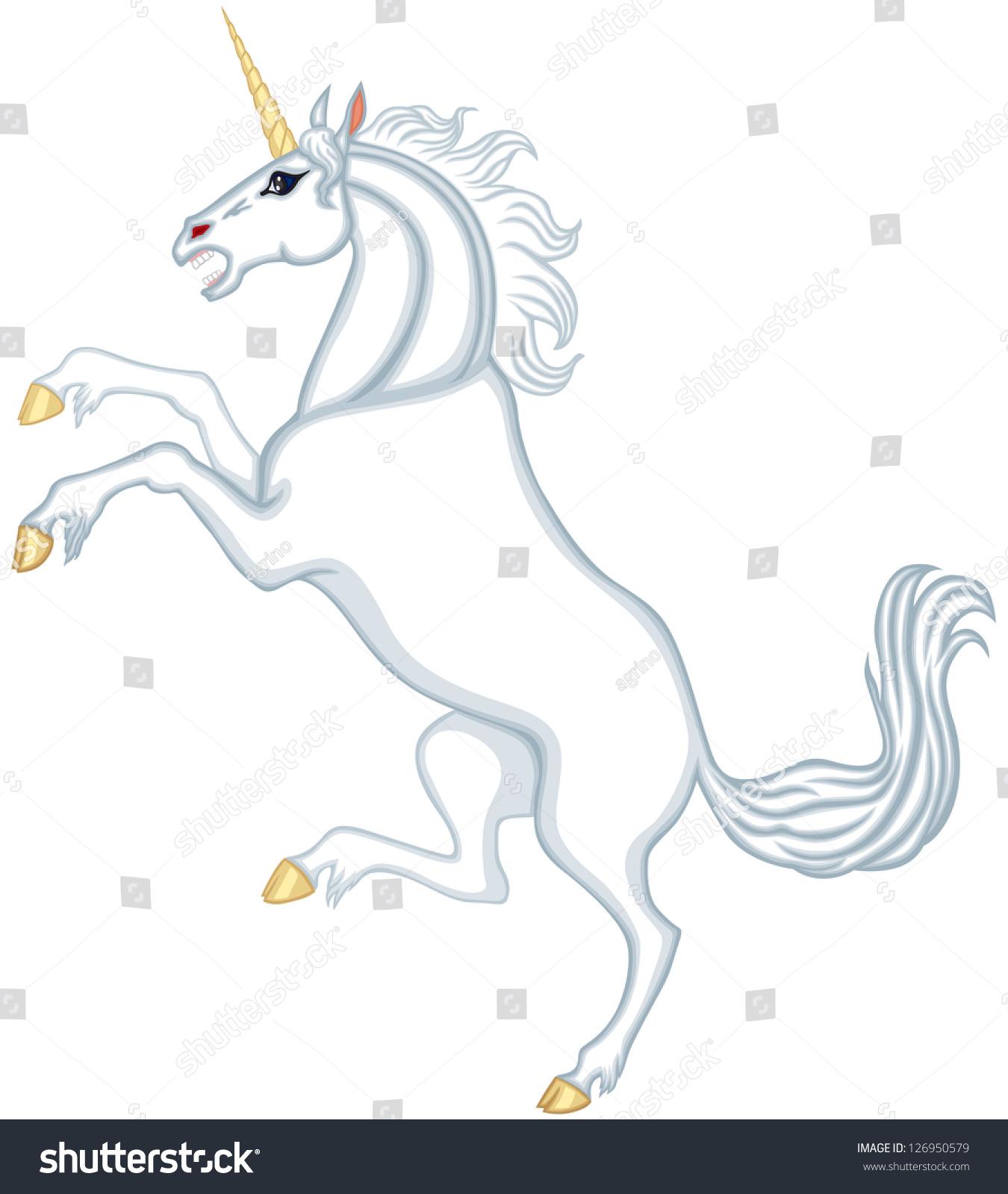 cartoon white unicorn reared stock illustration 126950579