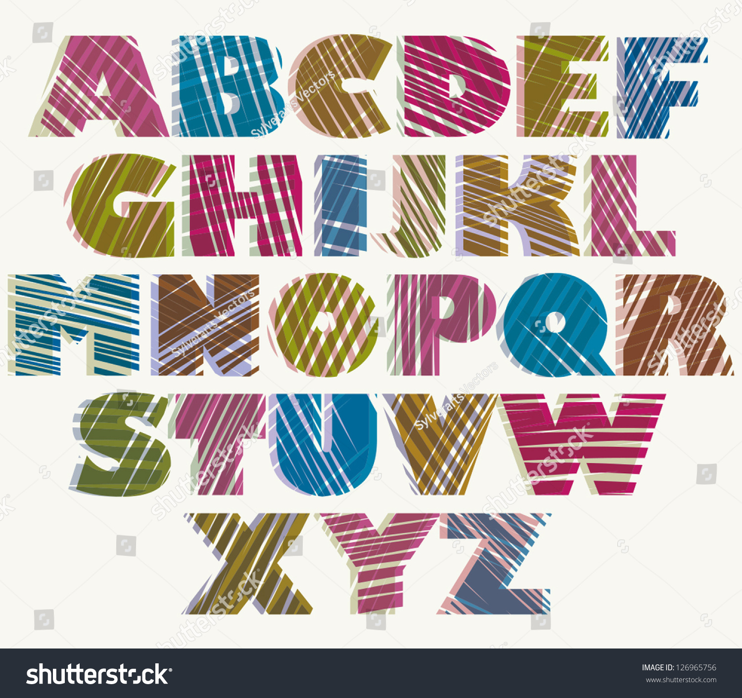 Hand Drawn Color Bold Font Sketch Style Alphabet Vector Eps 8