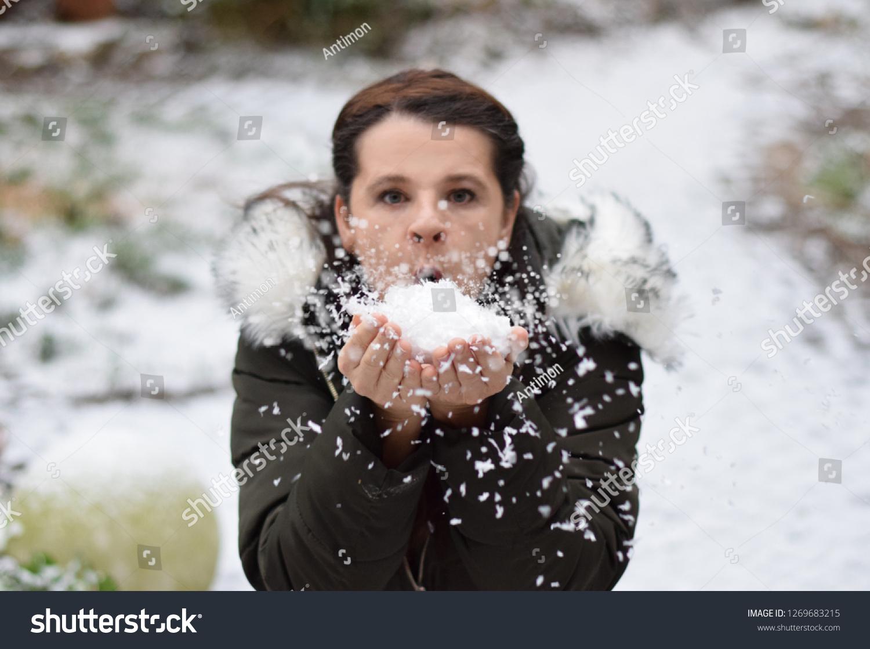 e6b459b8d1688 Darkhaired European Woman Winter Landscape Blows Stock Photo (Edit ...