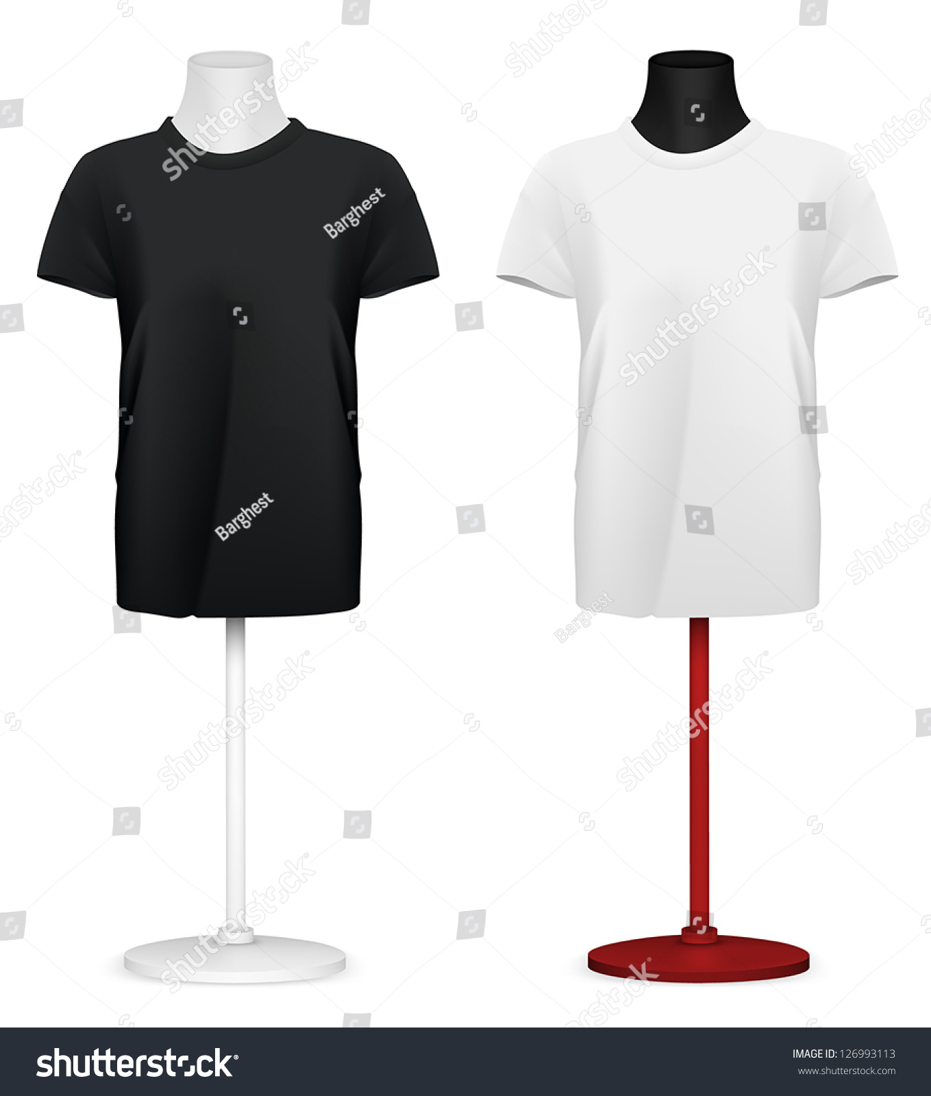 Plain Tshirt On Mannequin Torso Template Stock-Vektorgrafik ...