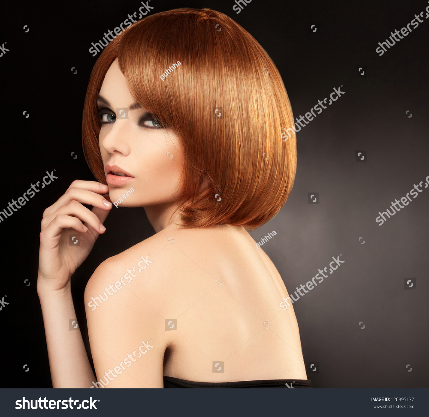 red hair beautiful woman short hair stock photo 126995177 shutterstock. Black Bedroom Furniture Sets. Home Design Ideas