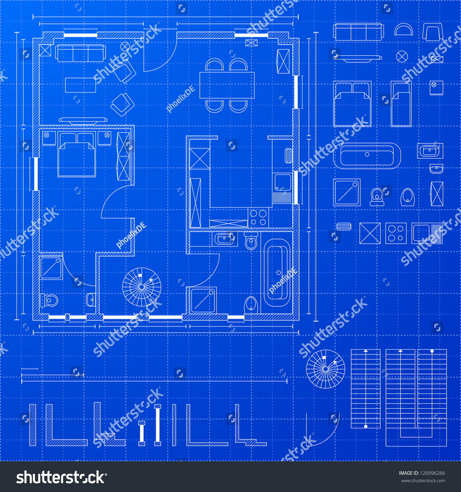 Detailed illustration of a blueprint floorplan with various design elements eps 10