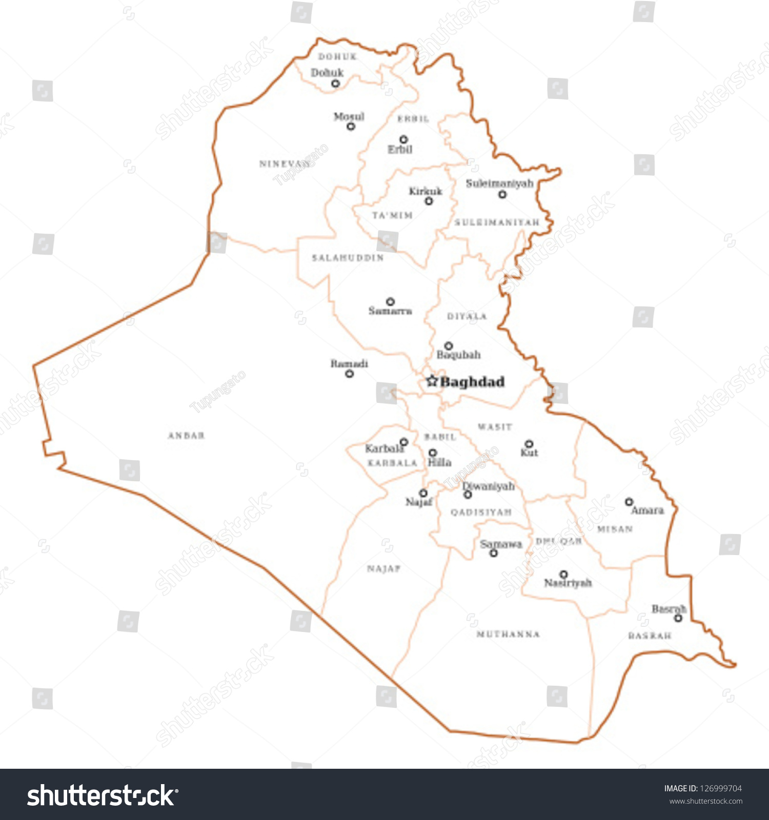 Iraq Map Major Cities Baghdad Mosul Stock Vector (Royalty Free ...