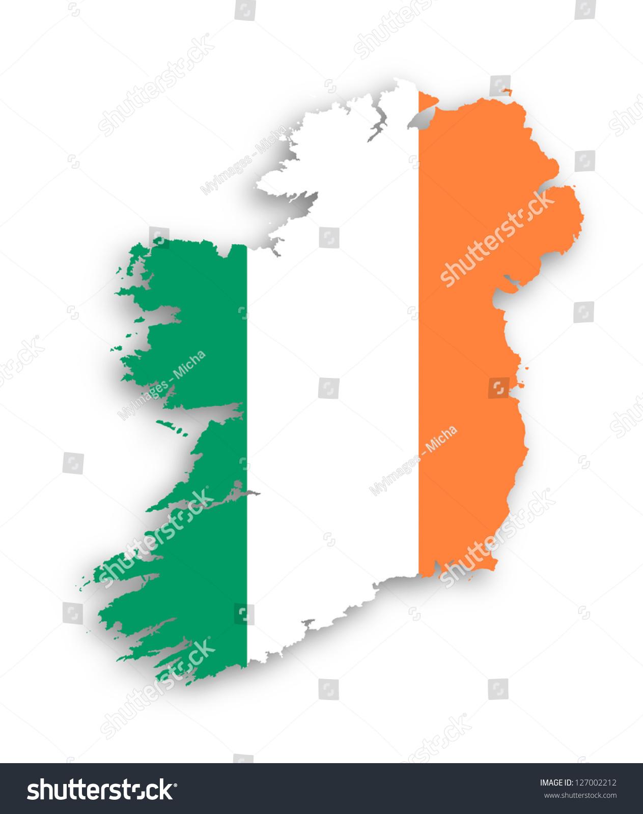 Map Ireland Flag Inside Isolated Stock Illustration 127002212