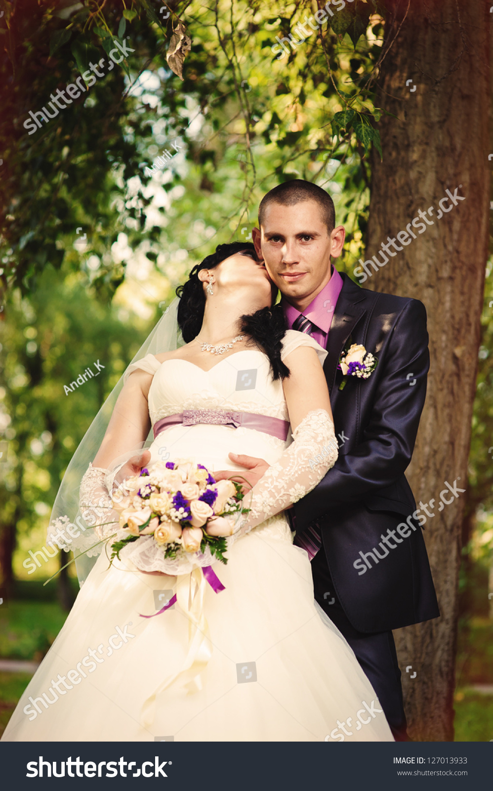 Happy Kiss Bride Groom Near Tree Stock Photo 127013933 - Shutterstock