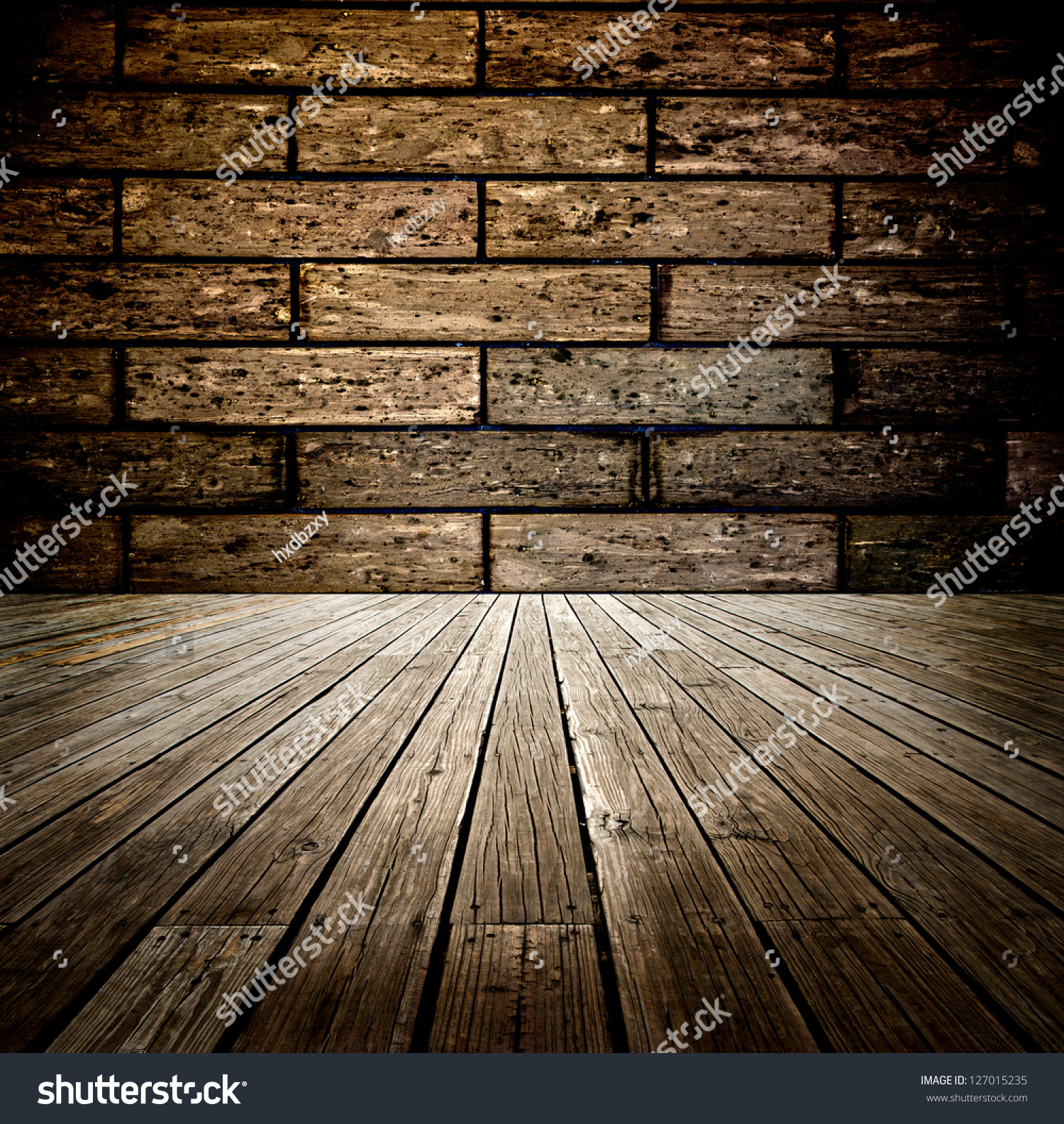 Abstract the old wood floor and brick wall for background