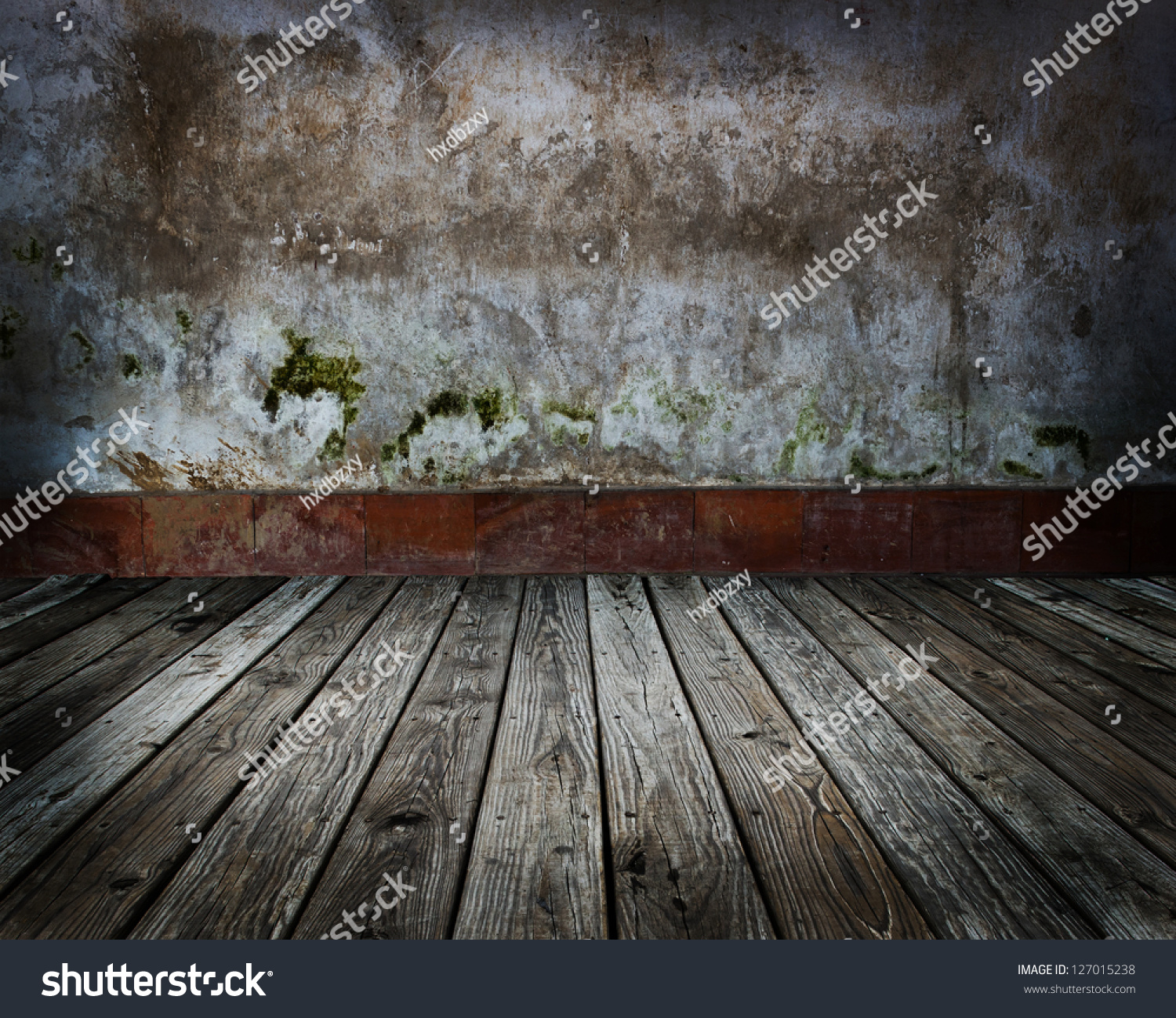 abstract the old wood floor and concrete wall for background. - Abstract Old Wood Floor Concrete Wall Stock Photo 127015238