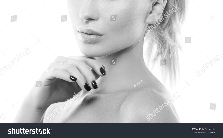 Lips hand shoulders beauty woman partial stock photo edit