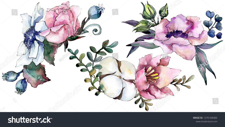 Pink Floral Botanical Flower Bouquet Wild Stock Illustration 1270168384