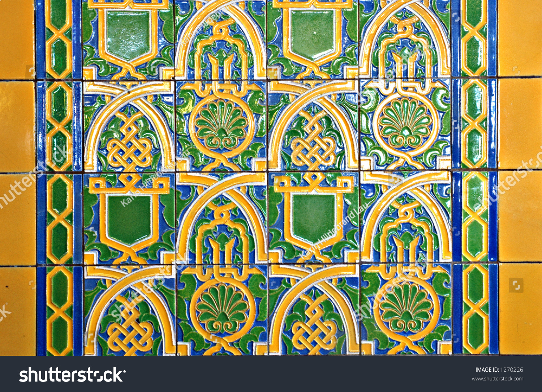 Art deco style ceramic tile stock photo 1270226 shutterstock art deco style ceramic tile dailygadgetfo Images