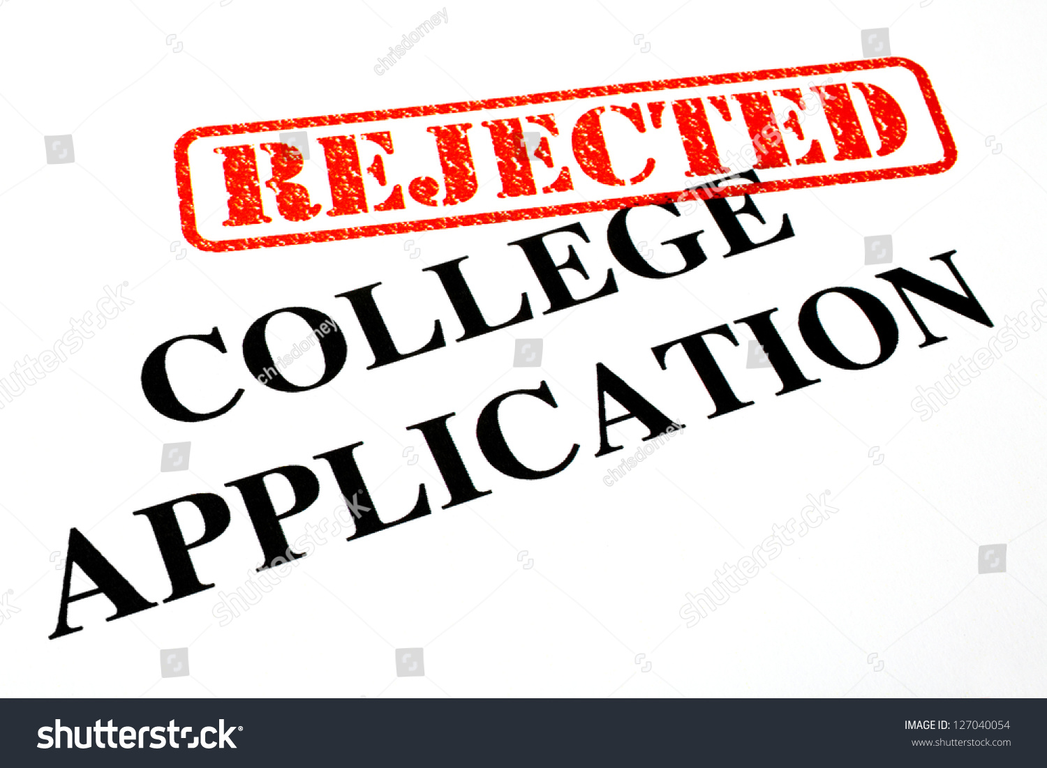 Closeup Rejected College Application Letter Stock Illustration