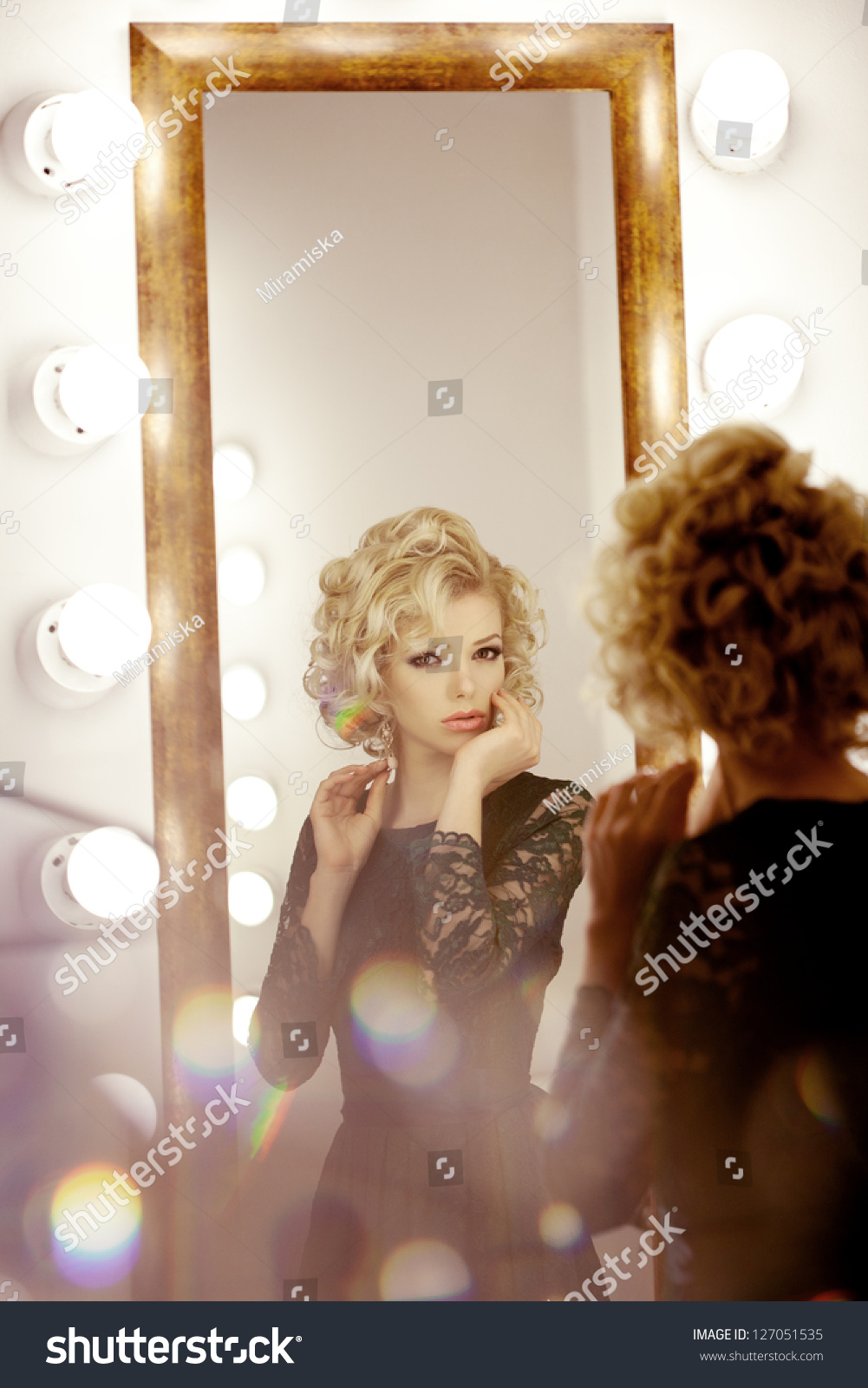 Beauty Luxury Woman Mirror Stock Photo 127051535 ...