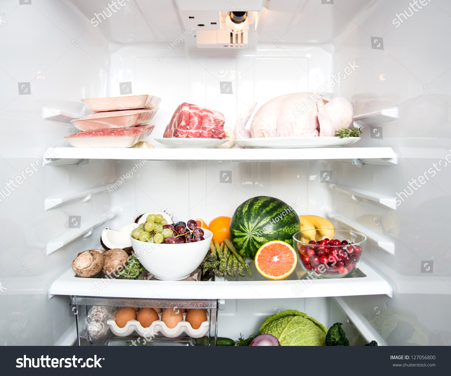 Refrigerator Options Refrigerator Full Fresh Fruits Vegetables Healthy Stock Photo