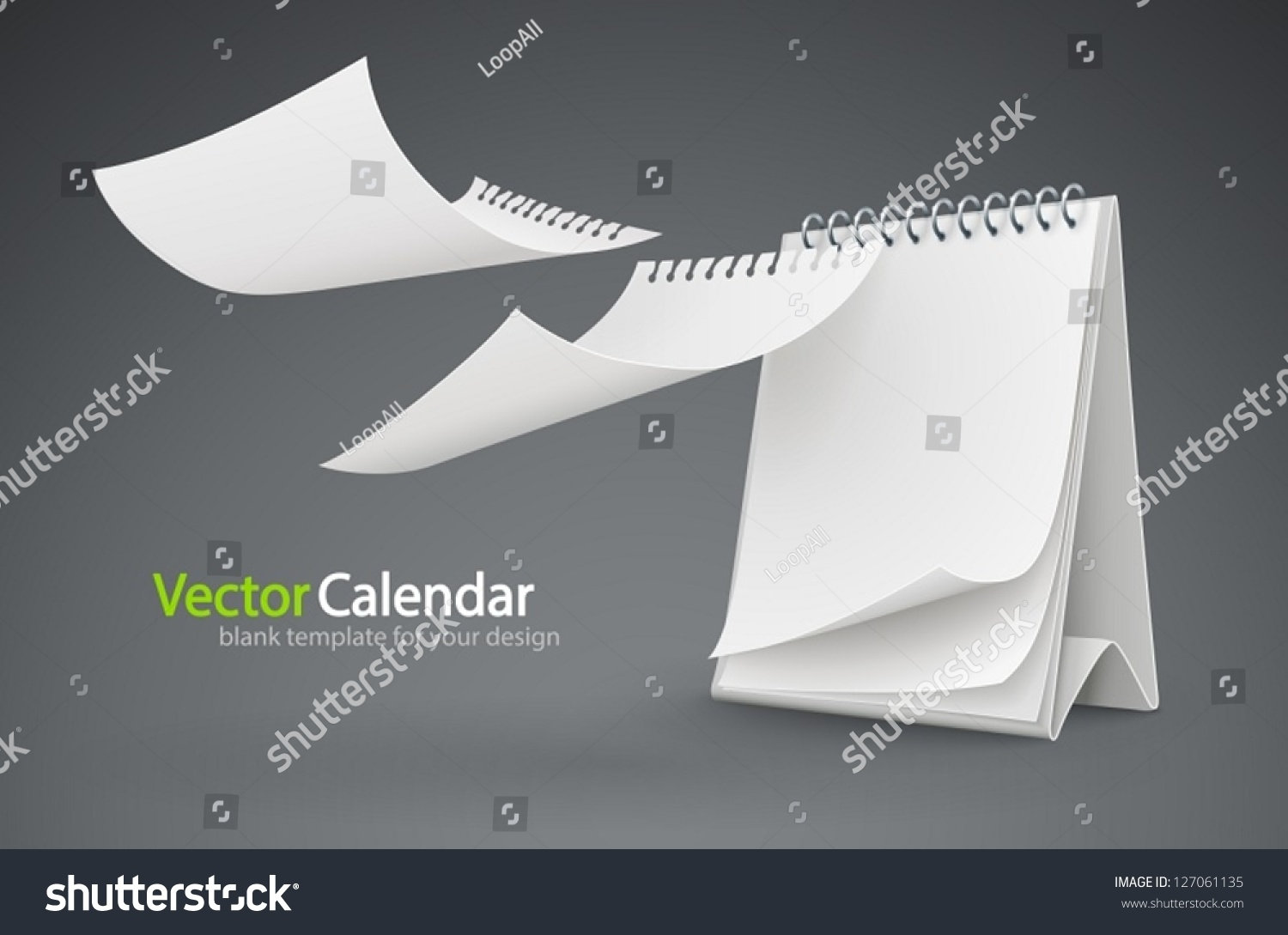 Calendar Pages Vector : Calendar template flying blank pages vector stock