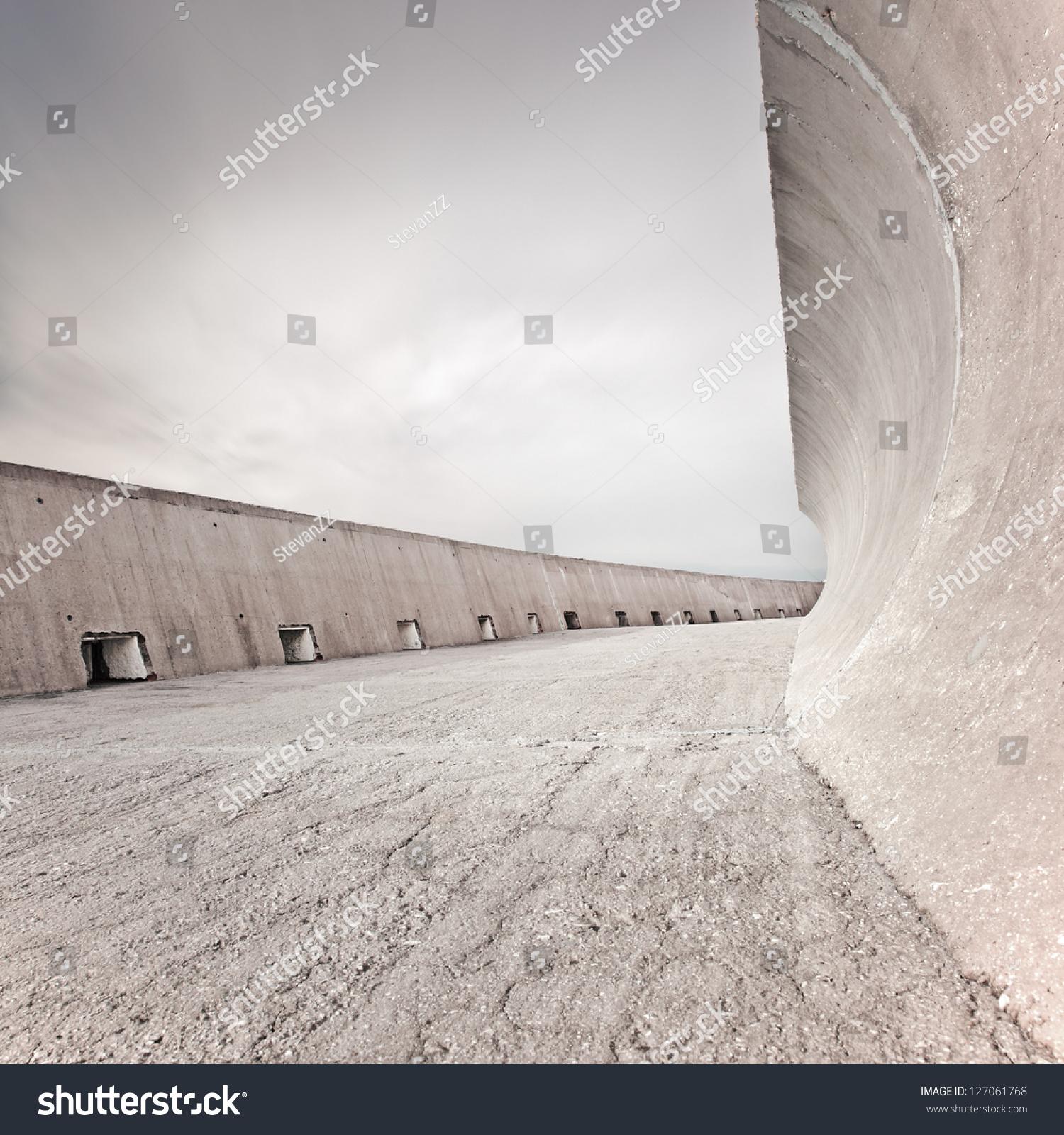 Concrete Dike Wall Design : Concrete dike dam structure wall fence stock photo