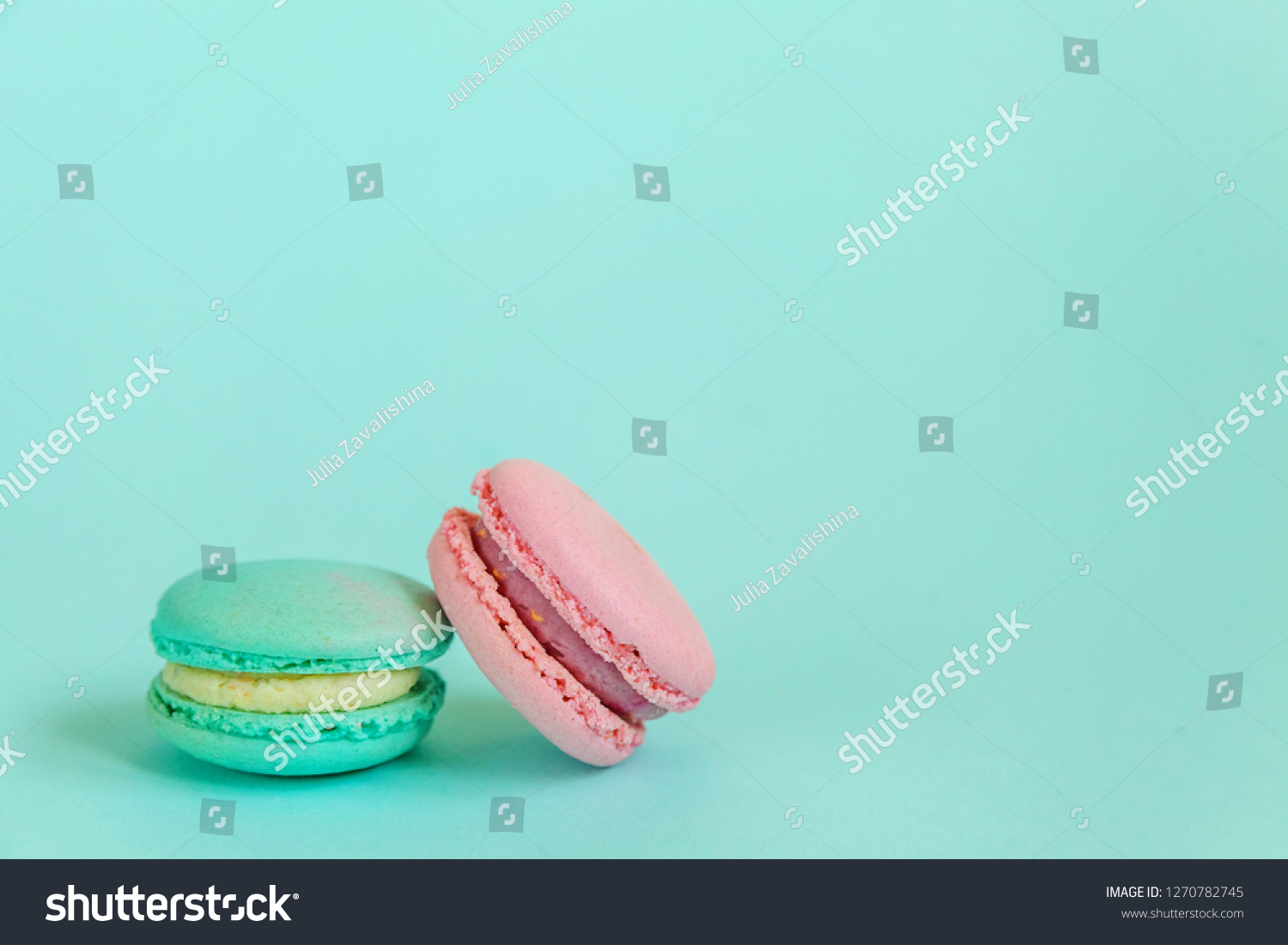 Sweet Almond Colorful Pink Blue Macaron Stock Photo Edit Now 1270782745