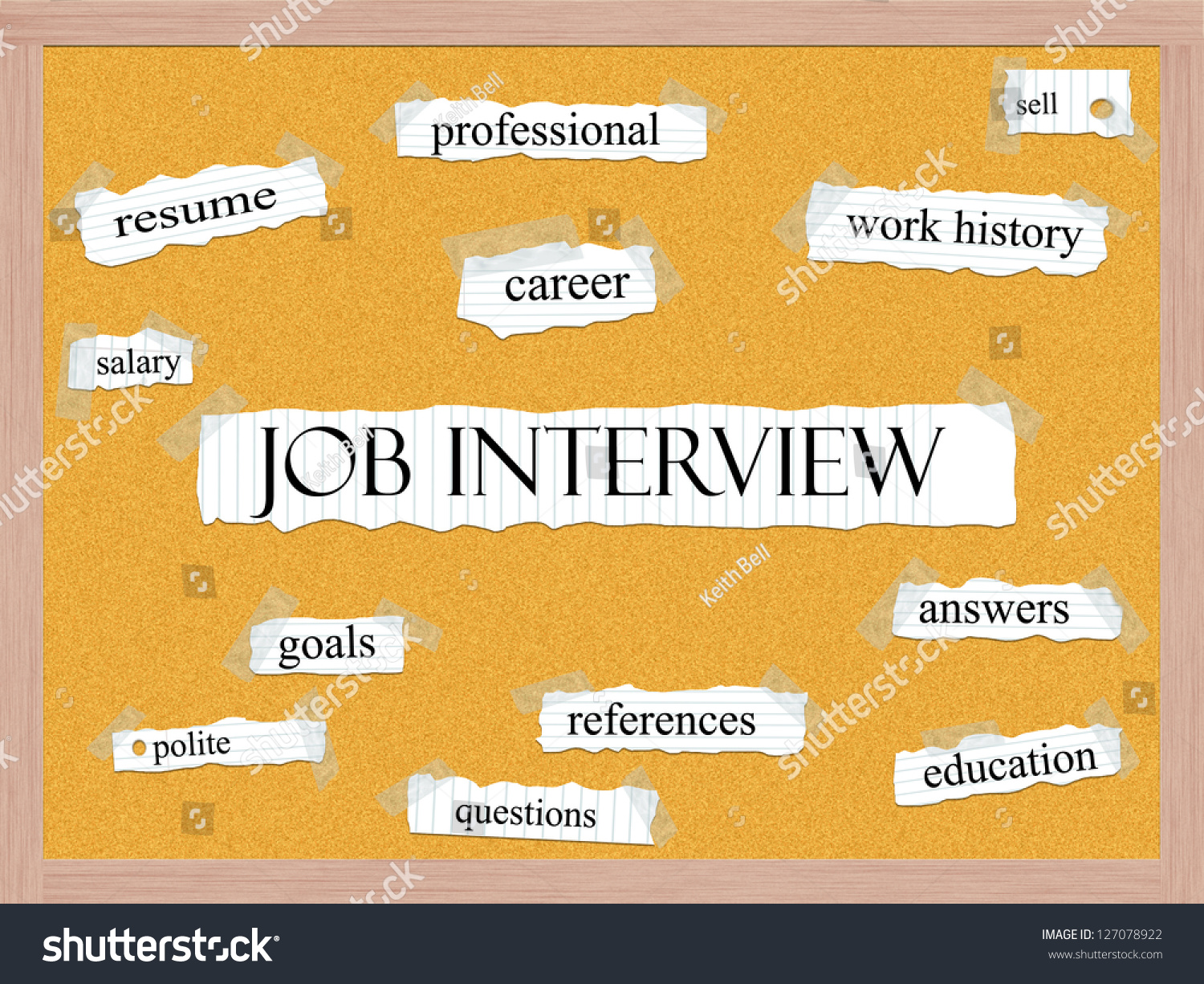 job interview corkboard word concept with great terms such as resume career salary sell and. Black Bedroom Furniture Sets. Home Design Ideas