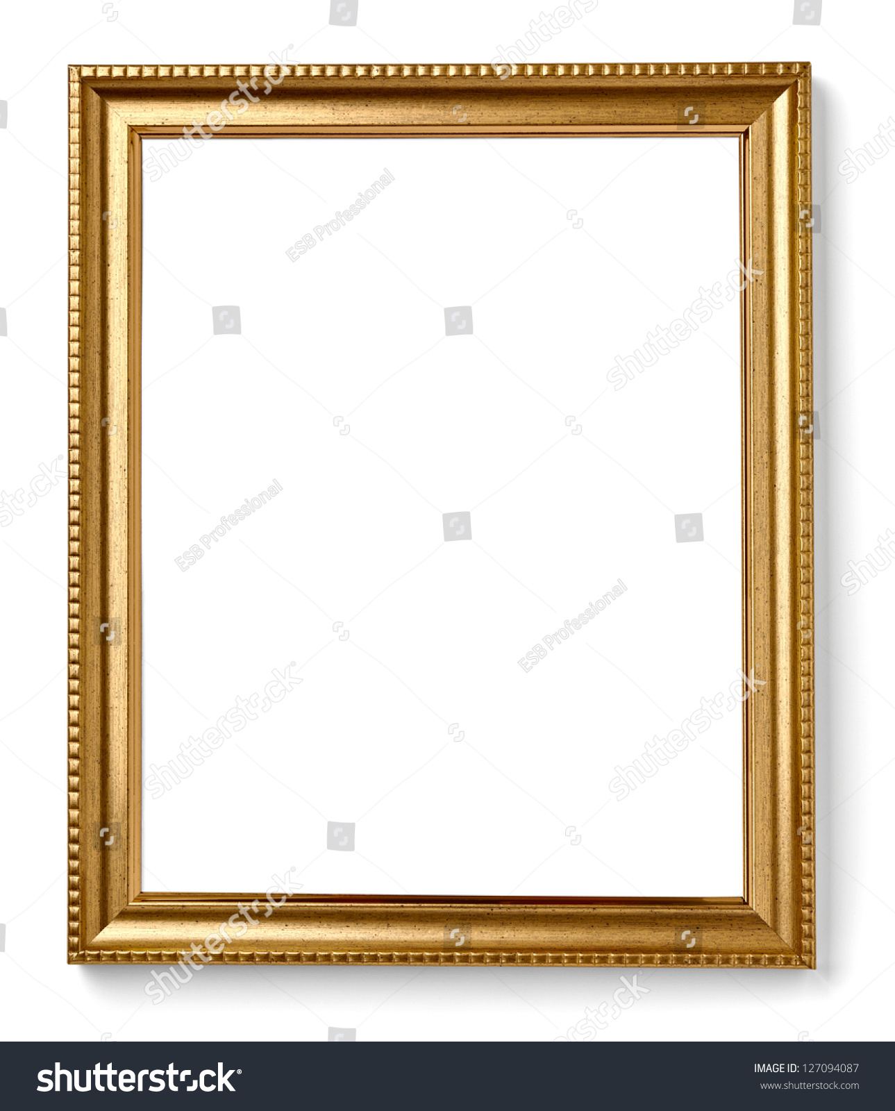Wooden Frame Painting Picture On White Stock Photo