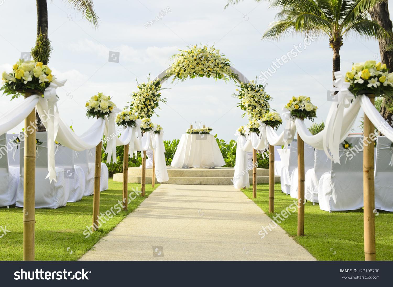 stock photo wedding set up in garden inside beach wedding set wedding set up in garden inside beach