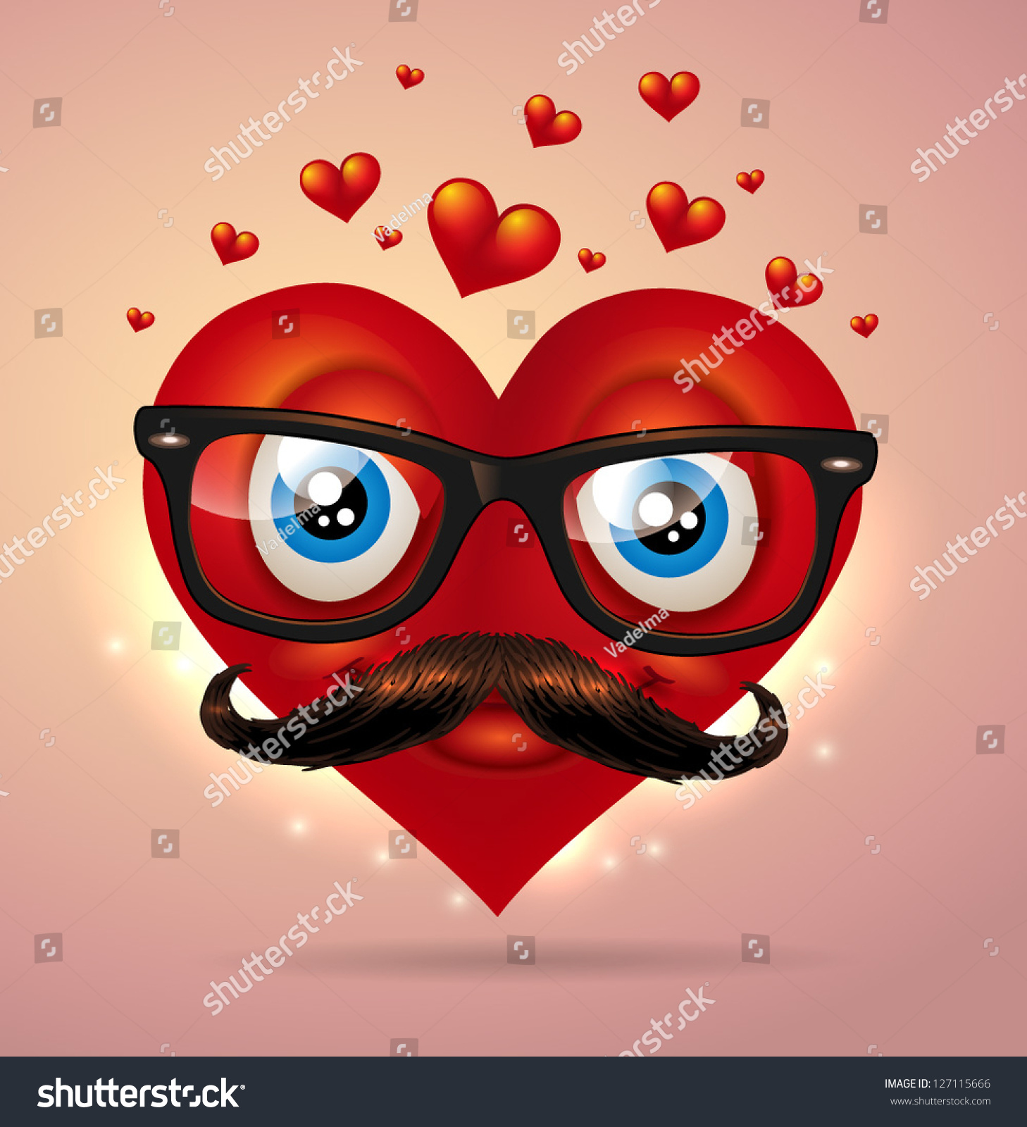 Valentine`s Day Heart Character   Vector Illustration.