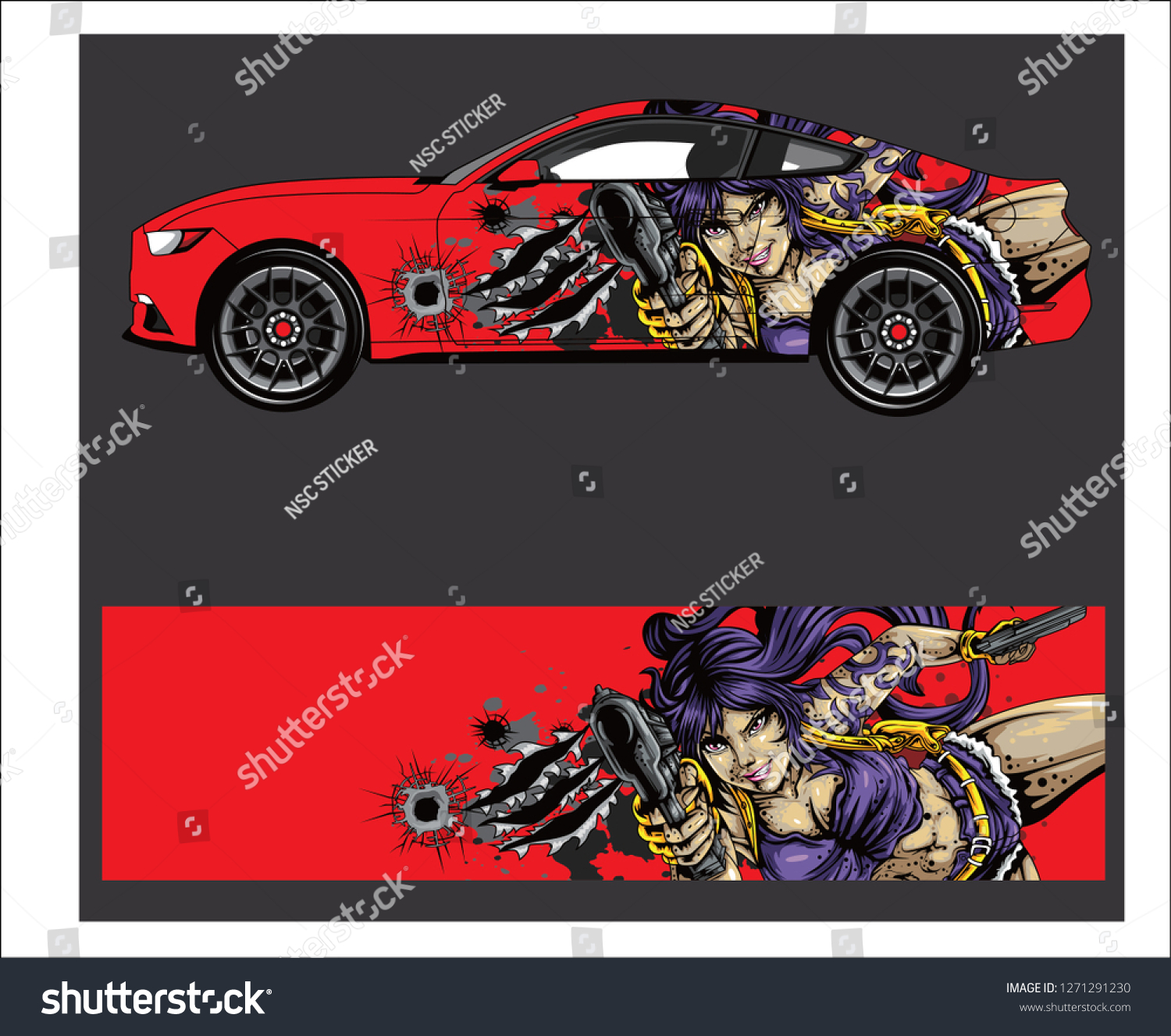 Car and vehicle anime graphic kit background for wrap and vinyl sticker