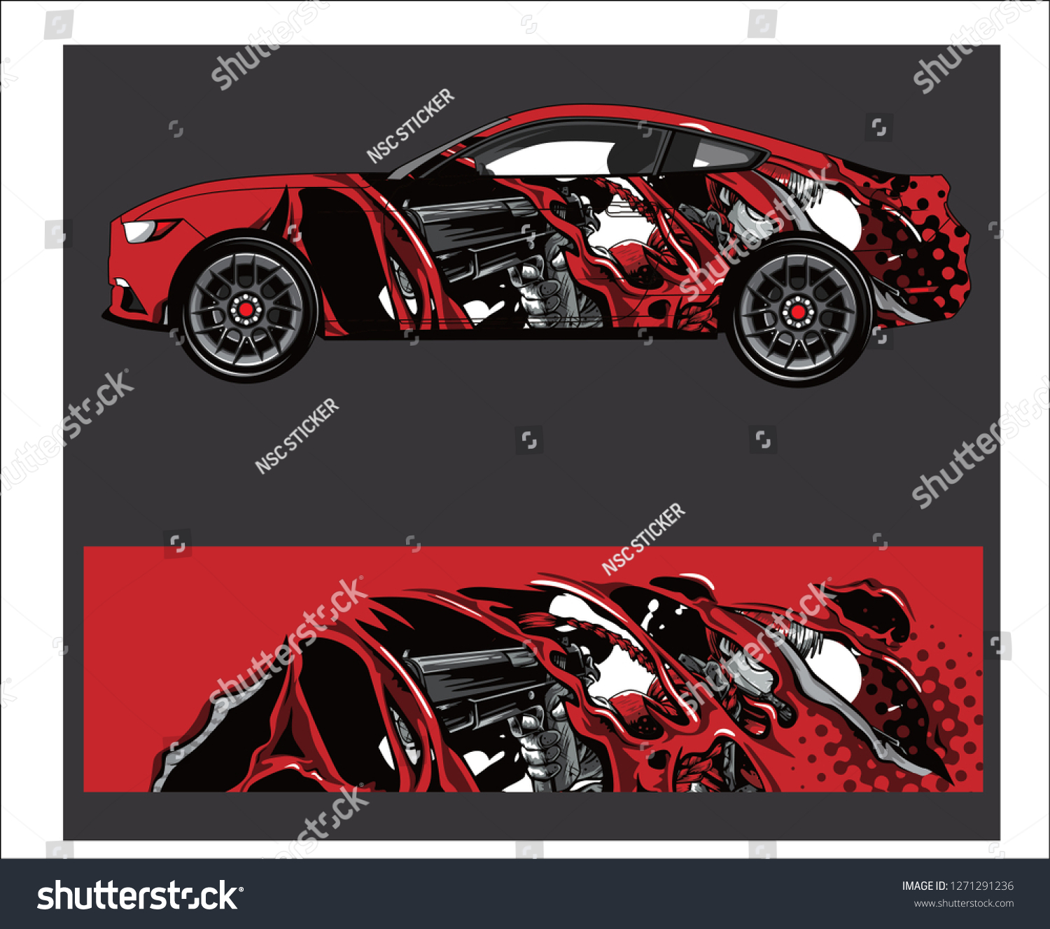 Car vehicle anime graphic kit background stock vector