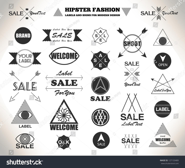 Set Hipster Flat Vintage Retro Labels Stock Vector ...